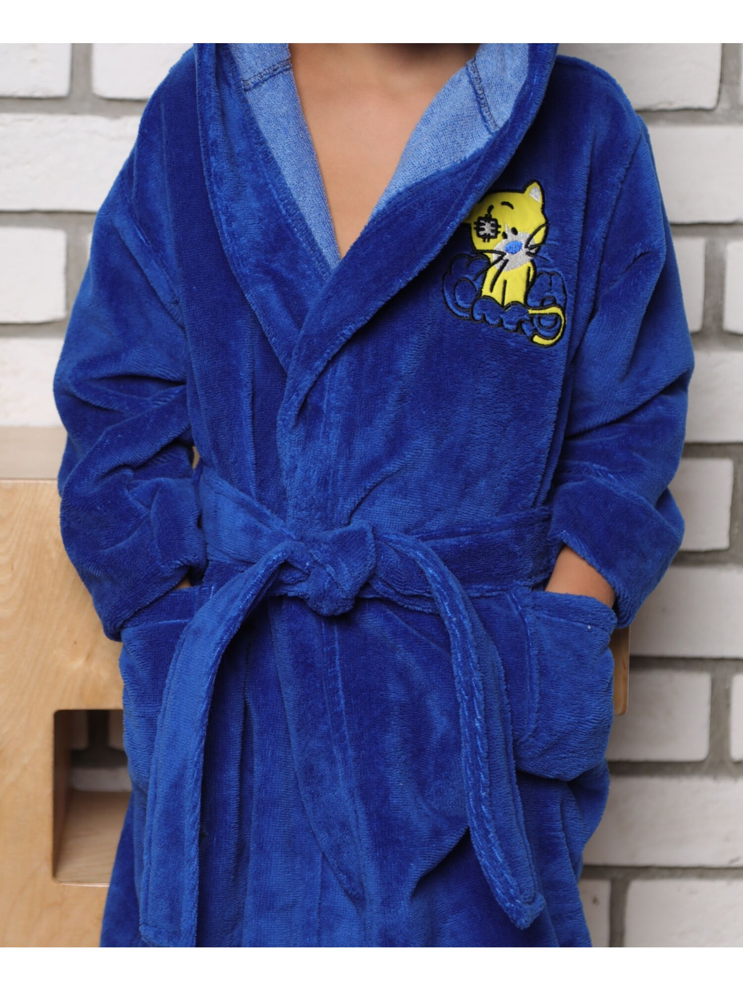 Детский махровый халат из бамбука Малыш (синий)