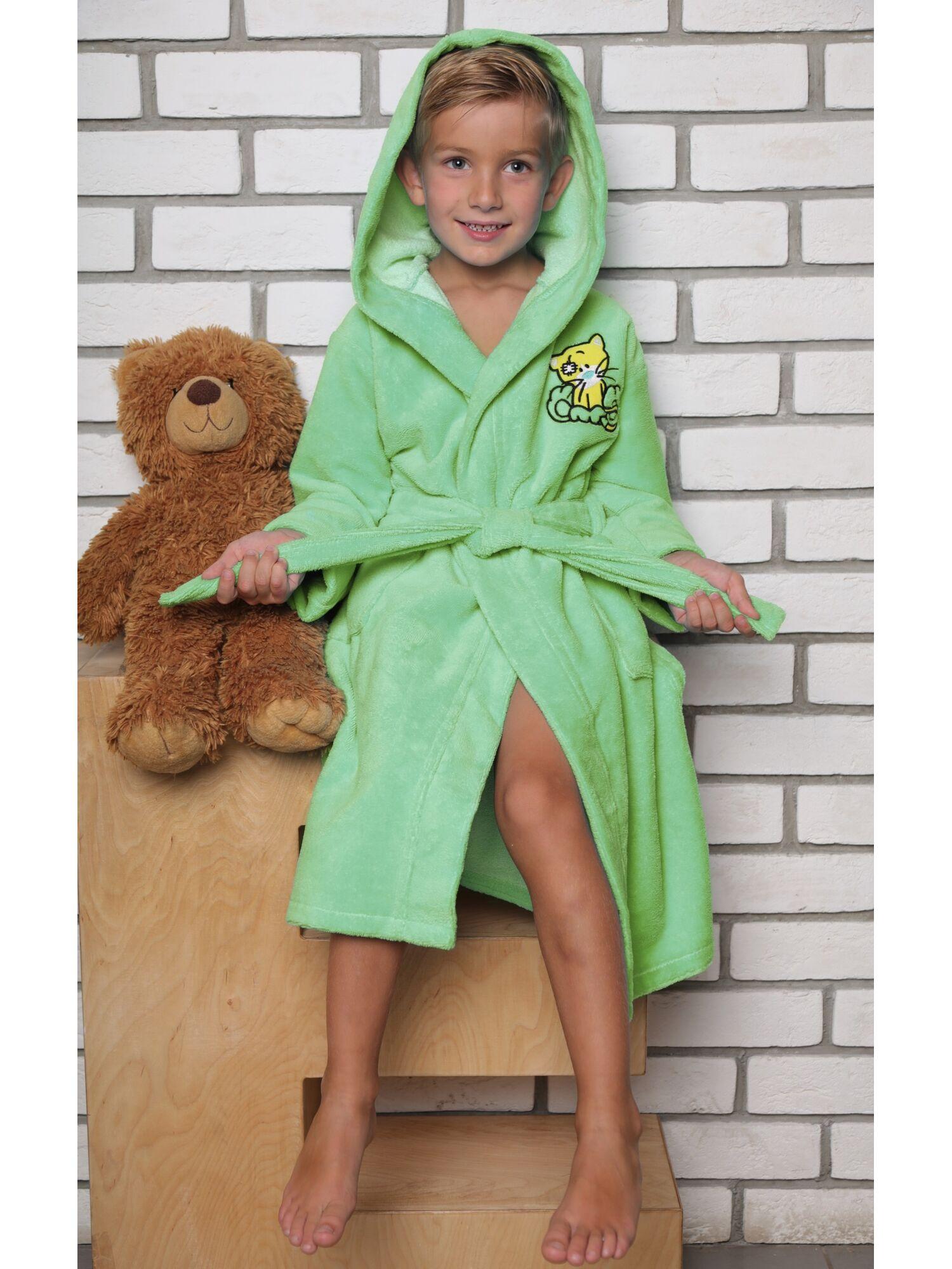 Детский махровый халат из бамбука Малыш (салатовый)