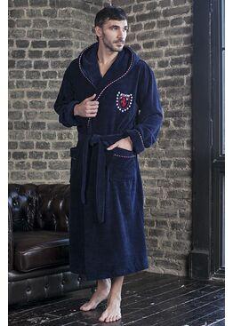 Бамбуковый халат с капюшоном MILANO (синий)
