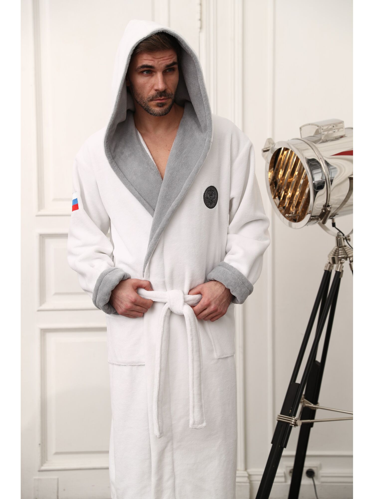 Бамбуковый халат с капюшоном Russia (белый)