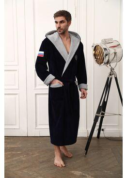 Бамбуковый халат с капюшоном Russia (синий)