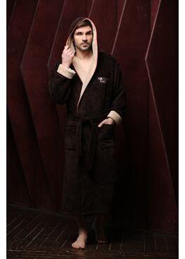 Мужской бамбуковый халат с капюшоном Россия вперед (шоколад)