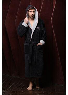 Мужской бамбуковый халат с капюшоном Россия вперед (антрацит)