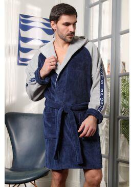 Мужской халат с капюшоном Sport (джинс)