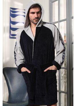Мужской халат с капюшоном Sport (синий)