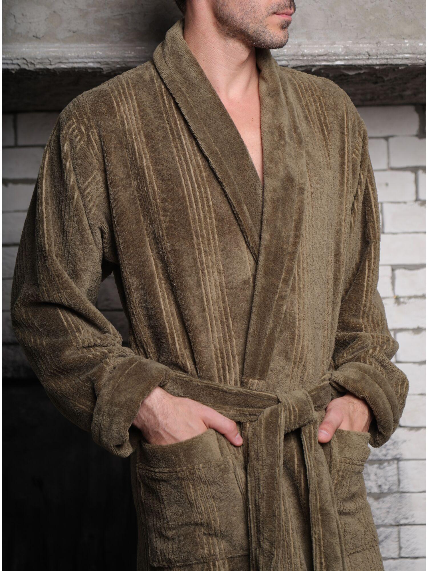 Халат мужской бамбуковый Valentino (хаки)