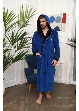 Бамбуковый халат с капюшоном Wien Club (джинс)