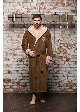 Бамбуковый халат с капюшоном Wien Club (табак)