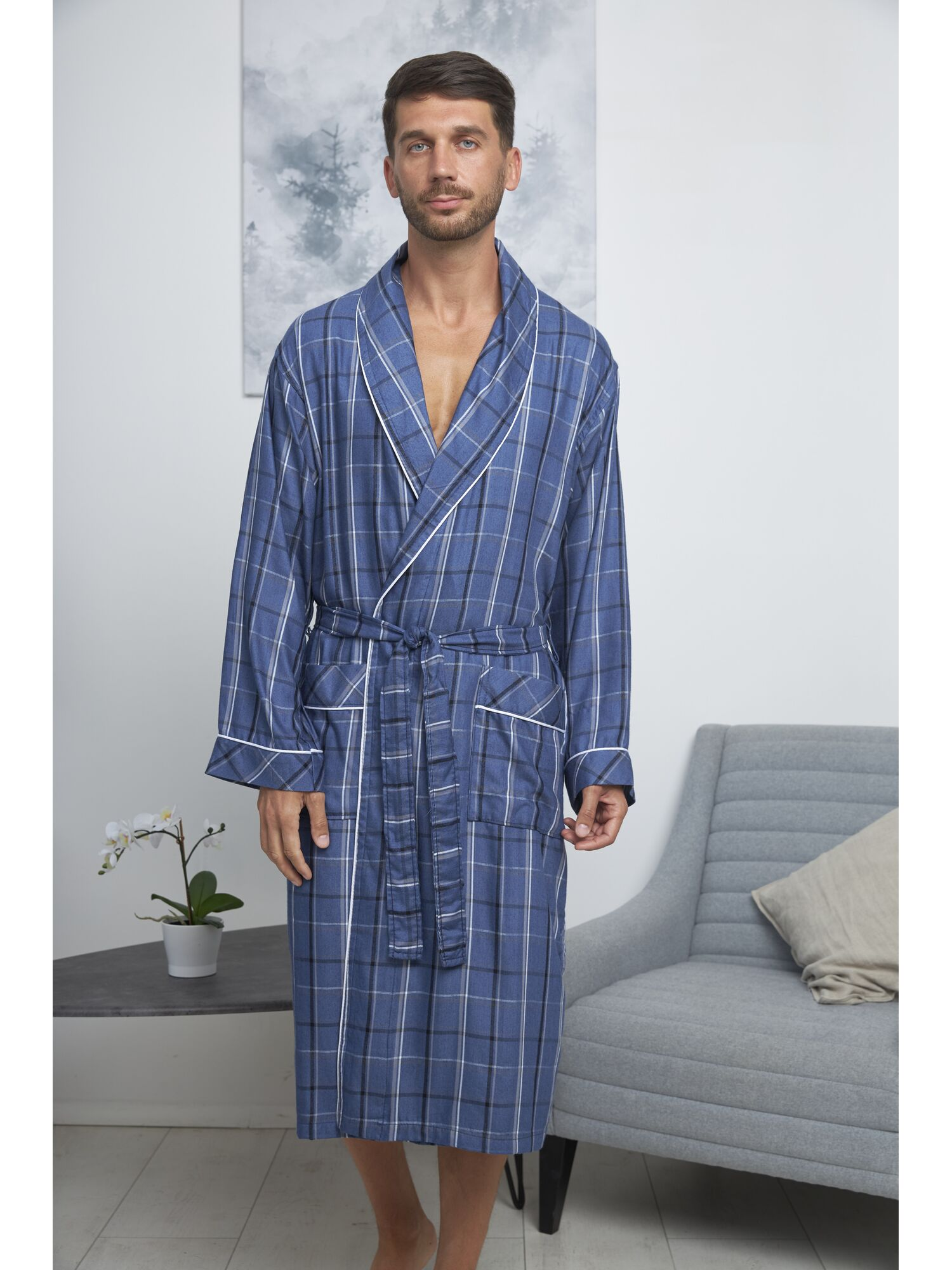 Халат мужской бамбуковый ROME голубой, VIEN