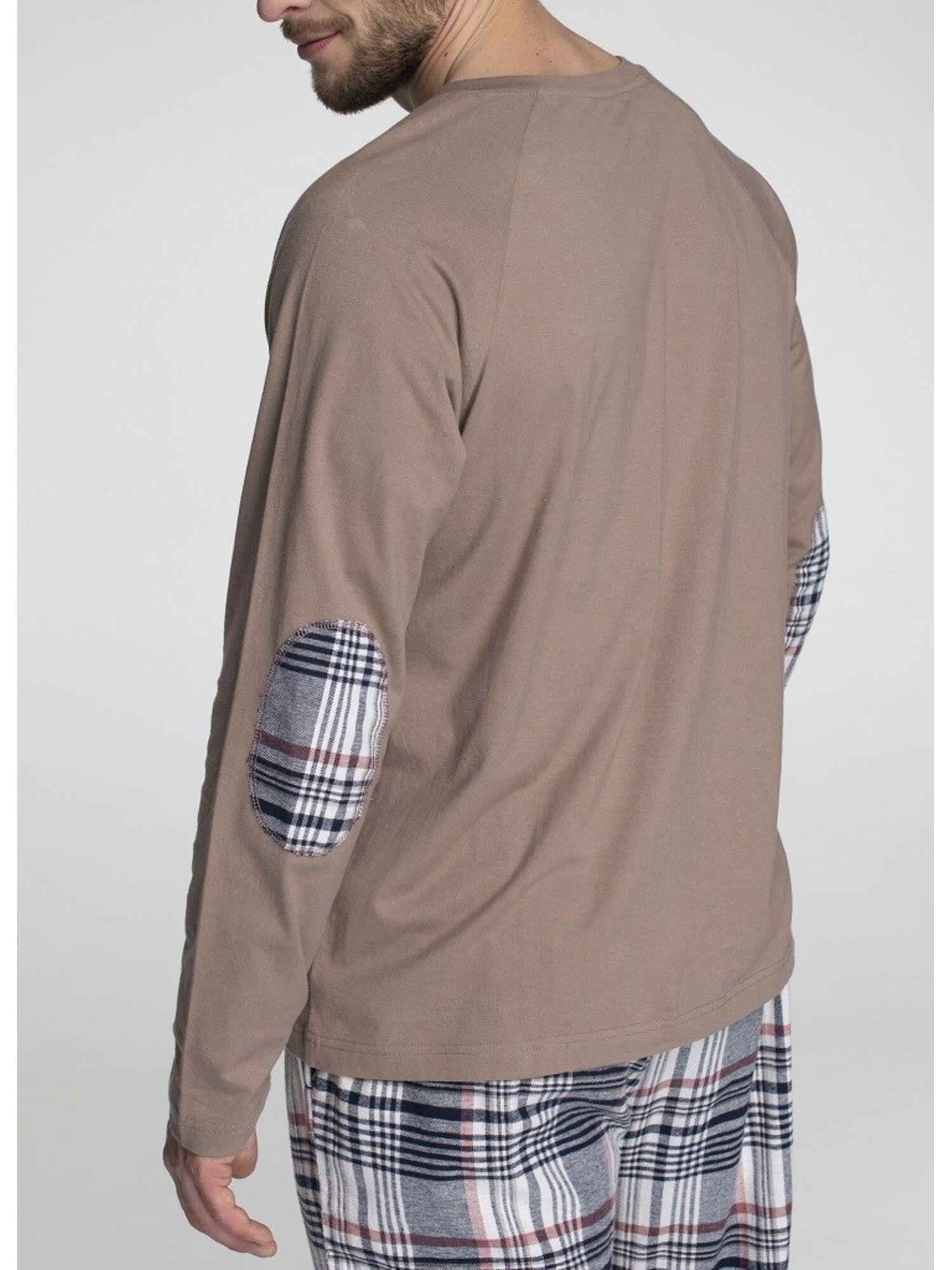 Хлопковый мужской домашний костюм с брюками MNS 041 19/20 коричневый/серый, KEY