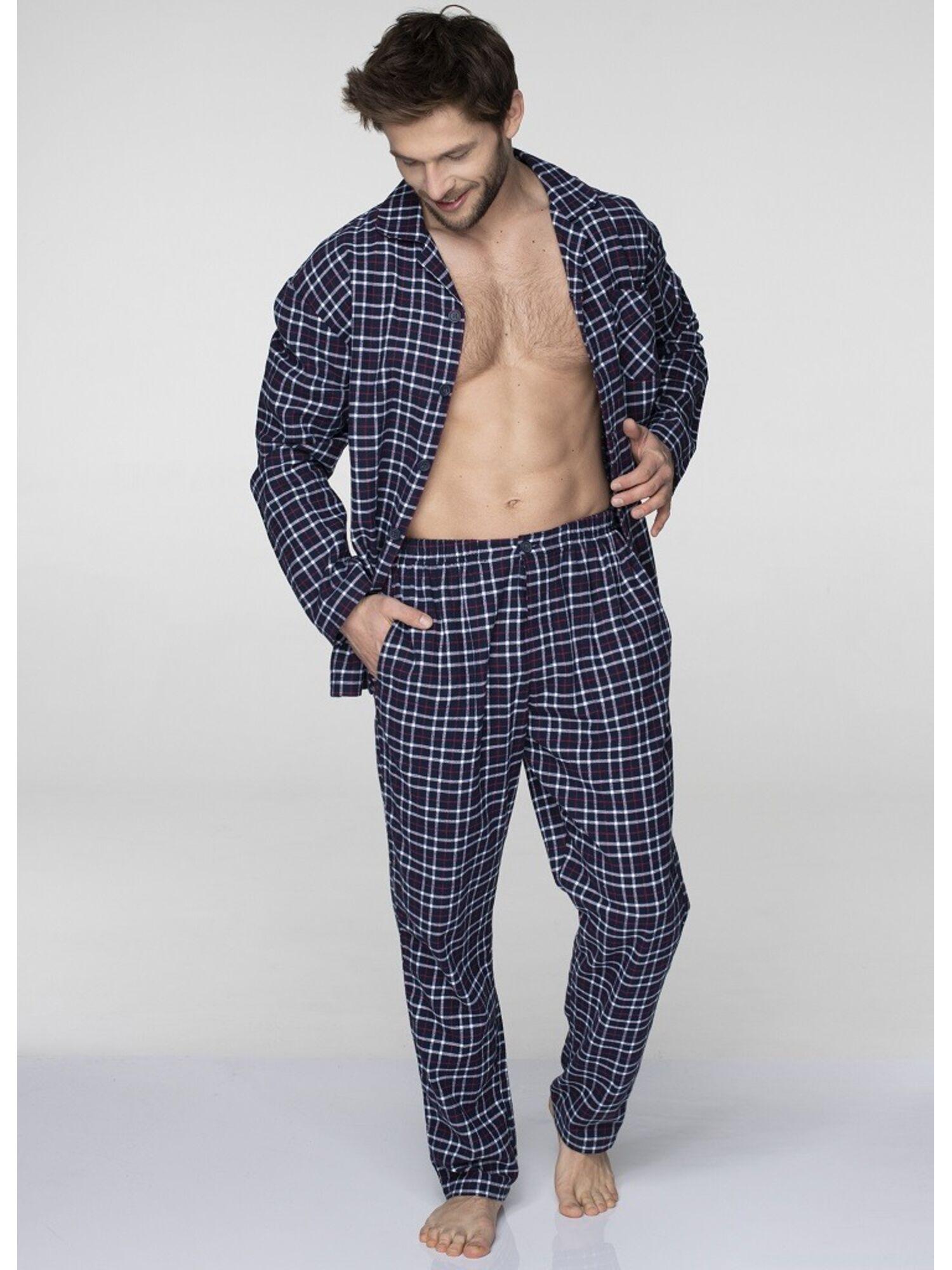 Мужская хлопковая пижама с брюками MNS 046 19/20 синий, KEY