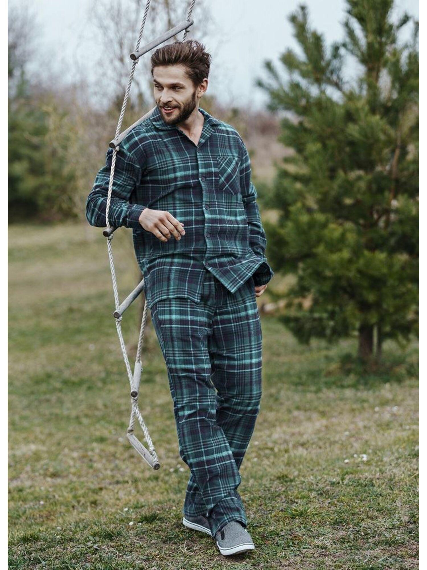 Мужская хлопковая пижама с брюками MNS 048 19/20 зеленый, KEY