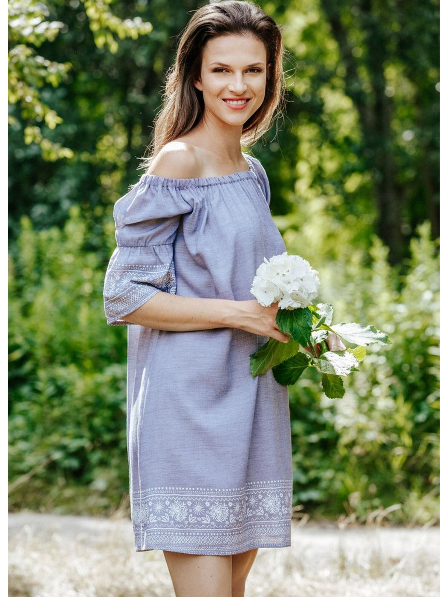 Платье/Туника из вискозы KEY_LHD 576 A20 с вышивкой, голубое, KEY
