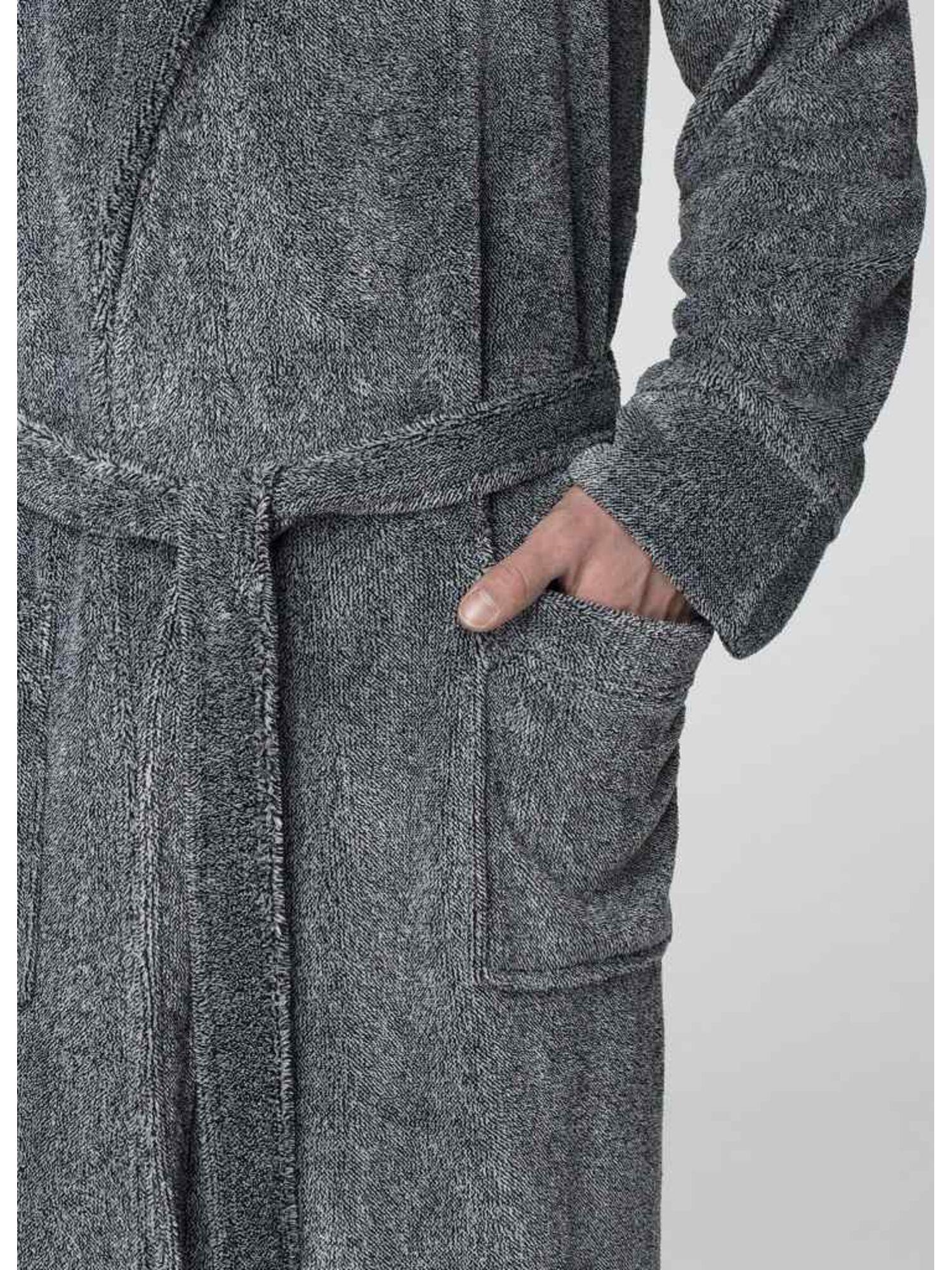 Мужской теплый флисовый халат MGL 215 19/20 серый, KEY