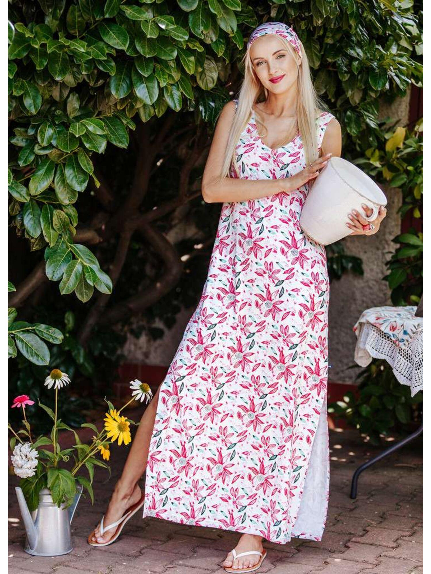 Платье женское бамбуковое длина макси, цветочный принт, LHD 505 A20, KEY