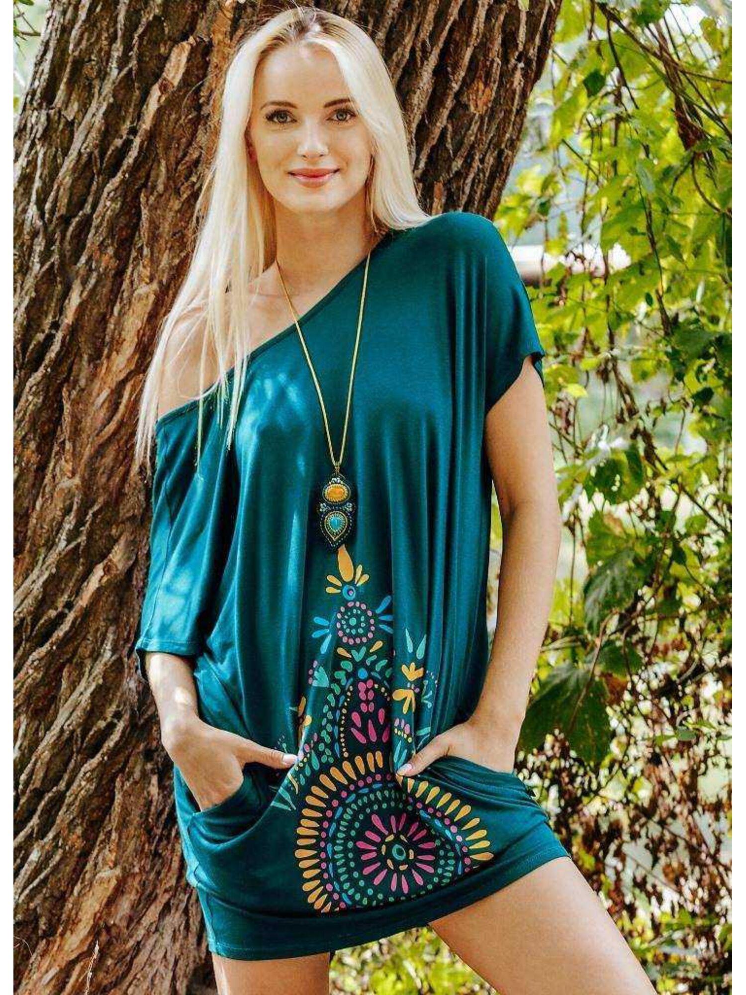 Платье женское из вискозы LHT 905 A20, изумрудное, KEY
