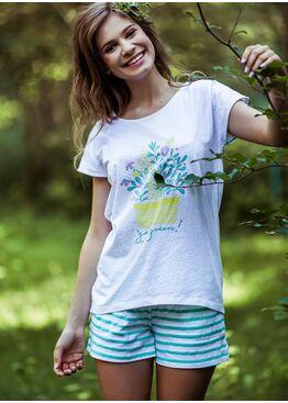 Пижама LNS 055 зеленый/белый