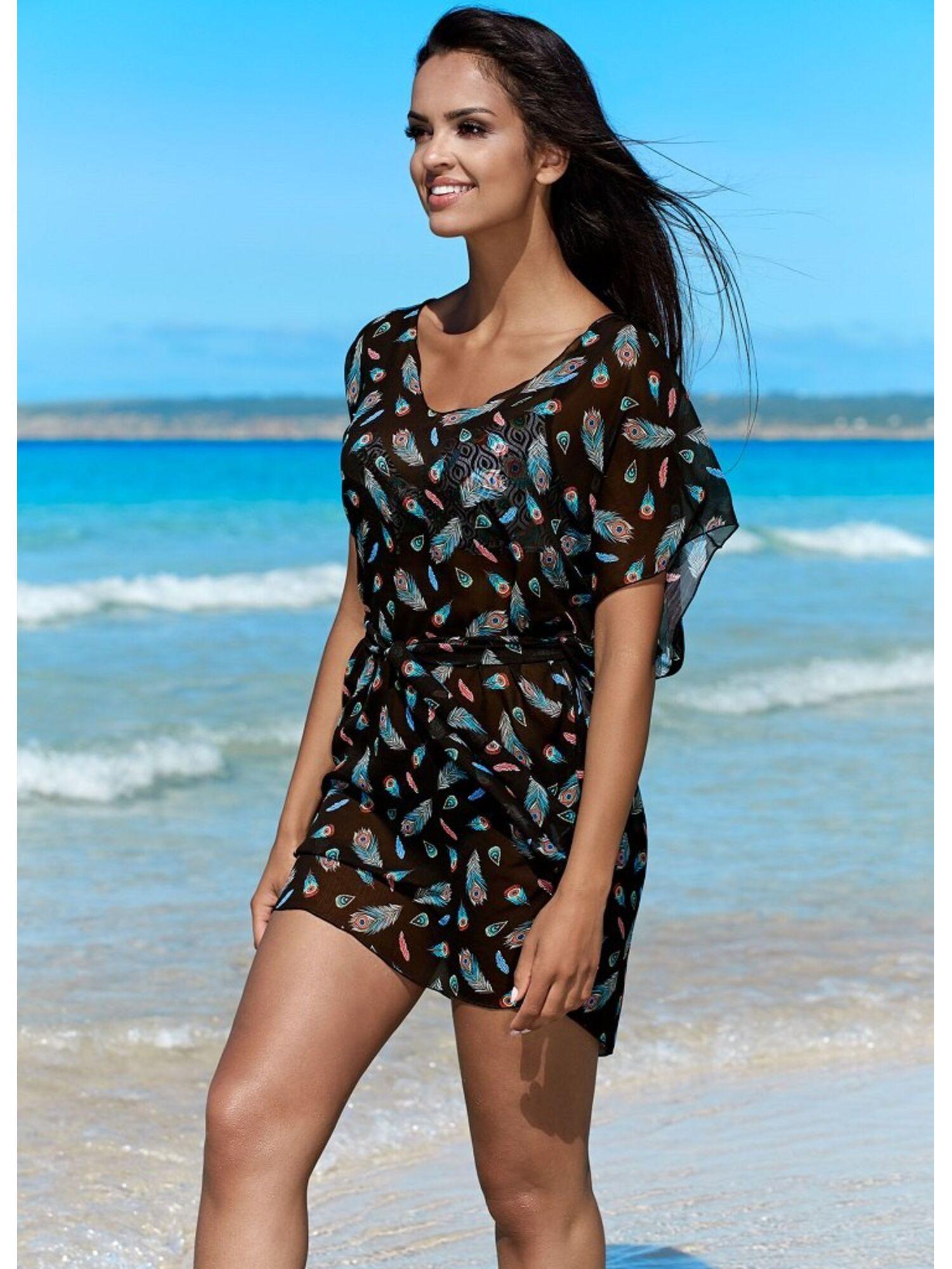 Женская пляжная туника с поясом L6015/9 черный, Lorin (Польша)