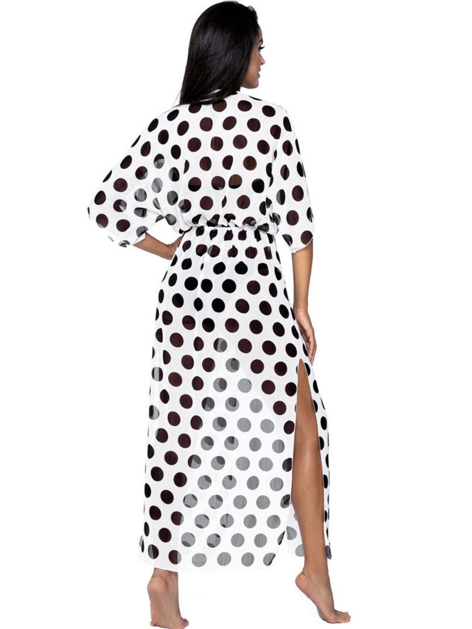 Платье пляжное женское белое в черный горох L6028/0, LORIN