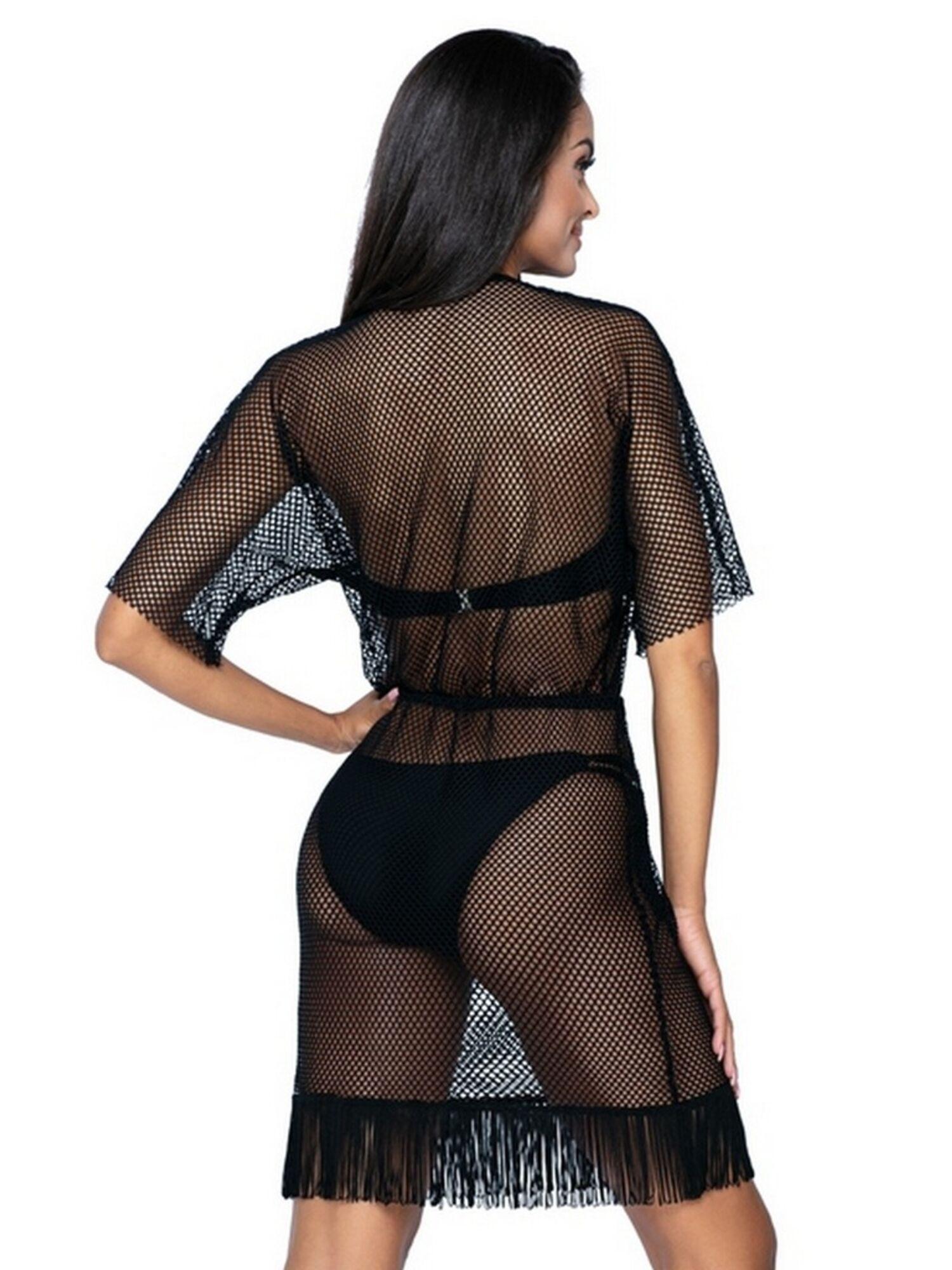 Оригинальное женское платье туника пляжное прозрачное с бахромой L6030/0, LORIN