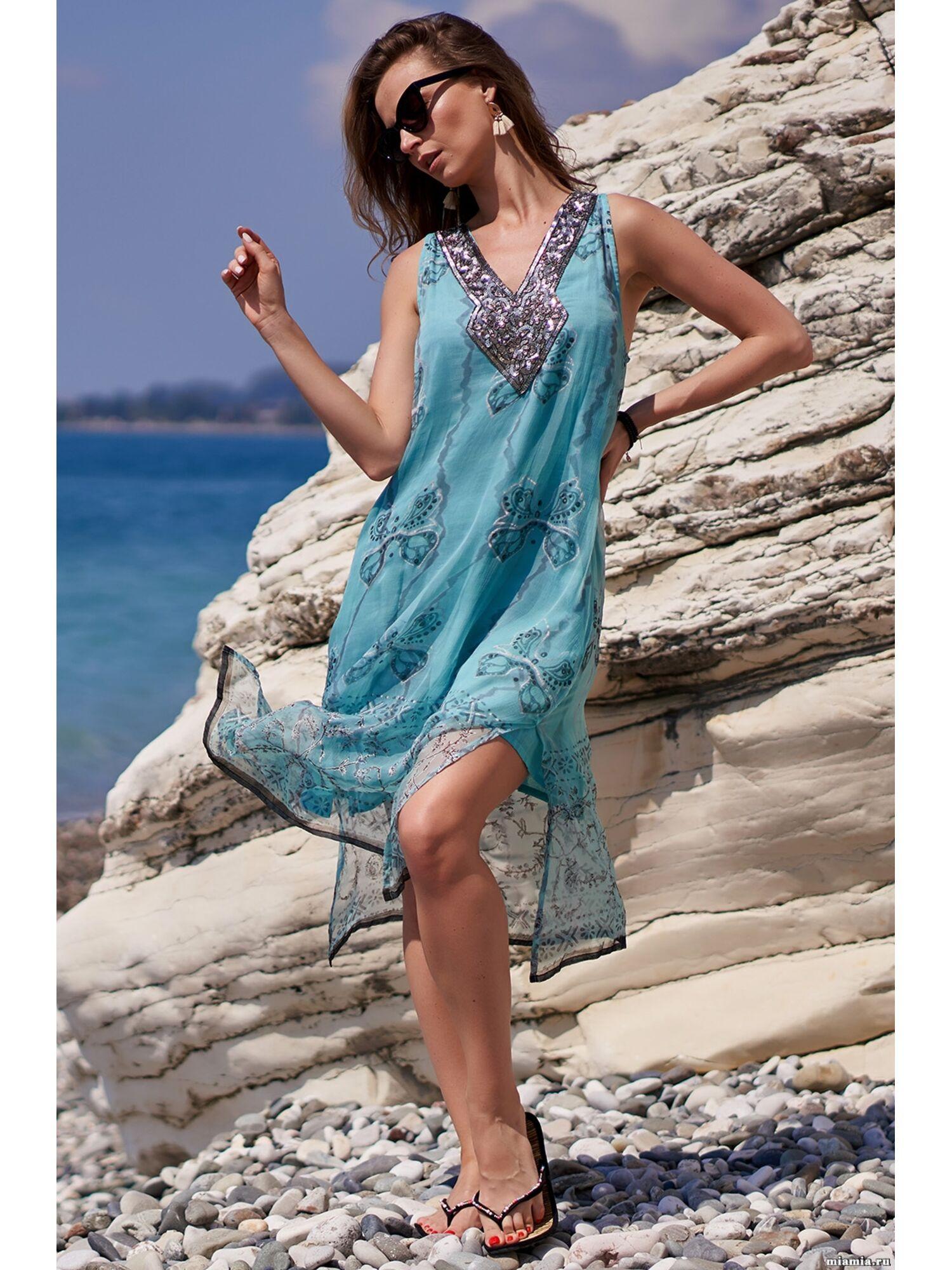 Сарафан, туника пляжная хлопковая Доминикана 1410, синий, Mia-Amore