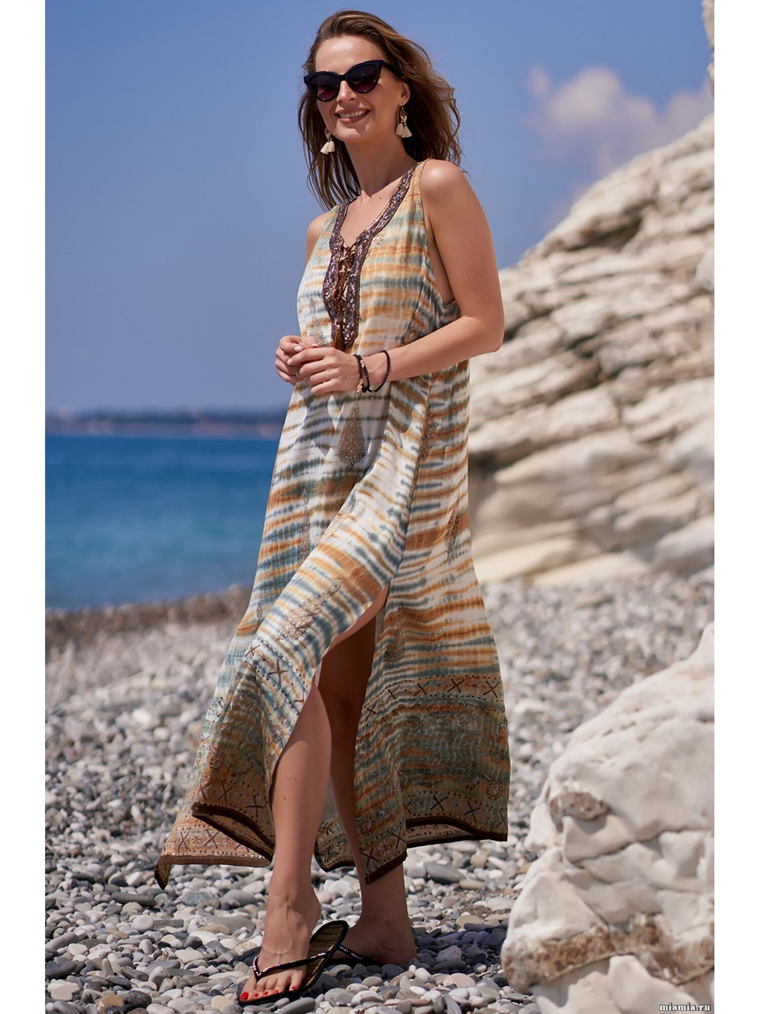 Сарафан, туника пляжная хлопковая Доминикана 1411, мультиколор, Mia-Amore