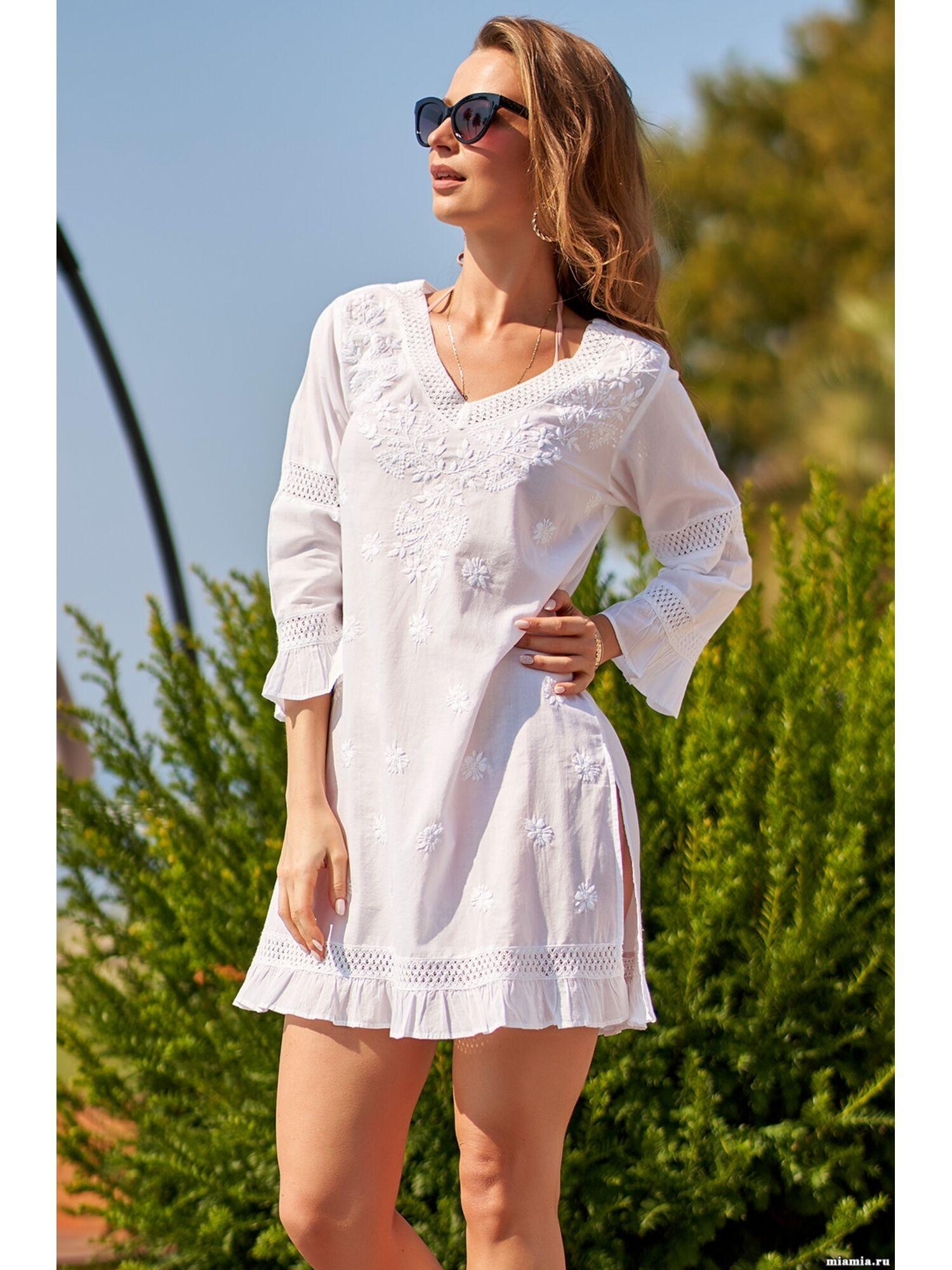 Туника пляжная хлопковая Доминикана 1361, белый, Mia-Amore