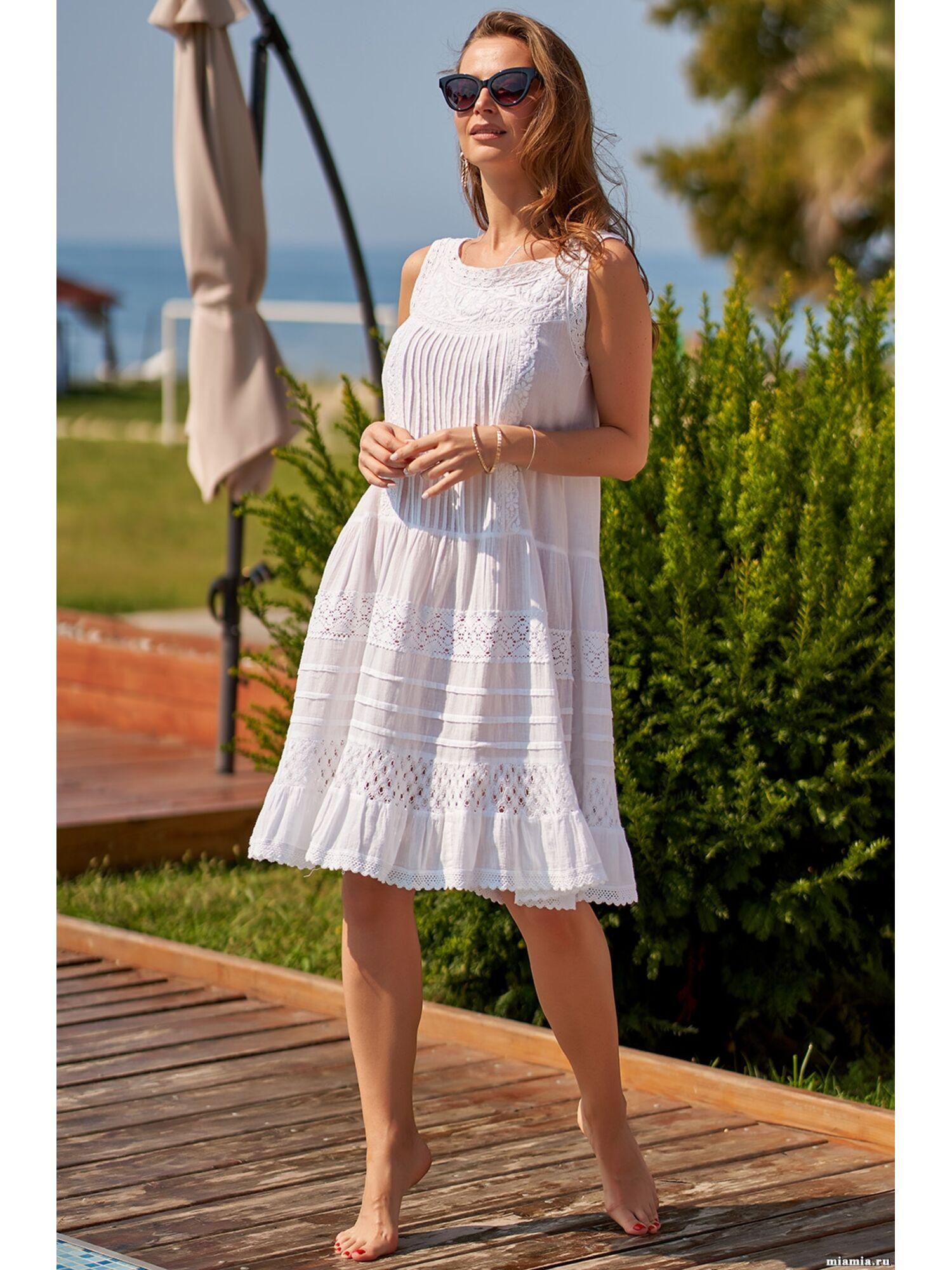 Сарафан, туника пляжная хлопковая Доминикана 1375, белый, Mia-Amore