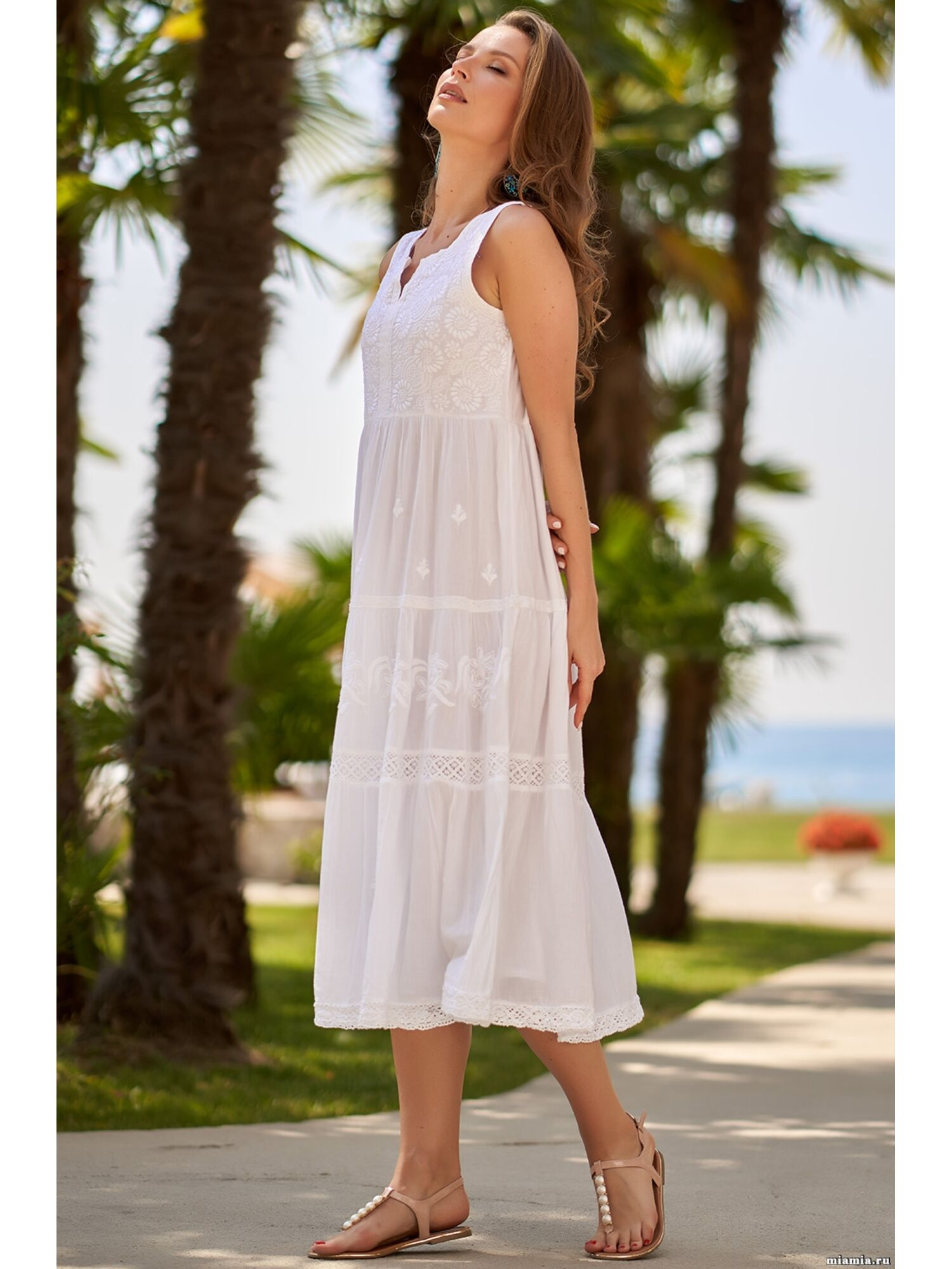 Сарафан, туника пляжная хлопковая Доминикана 1377, белый, Mia-Amore