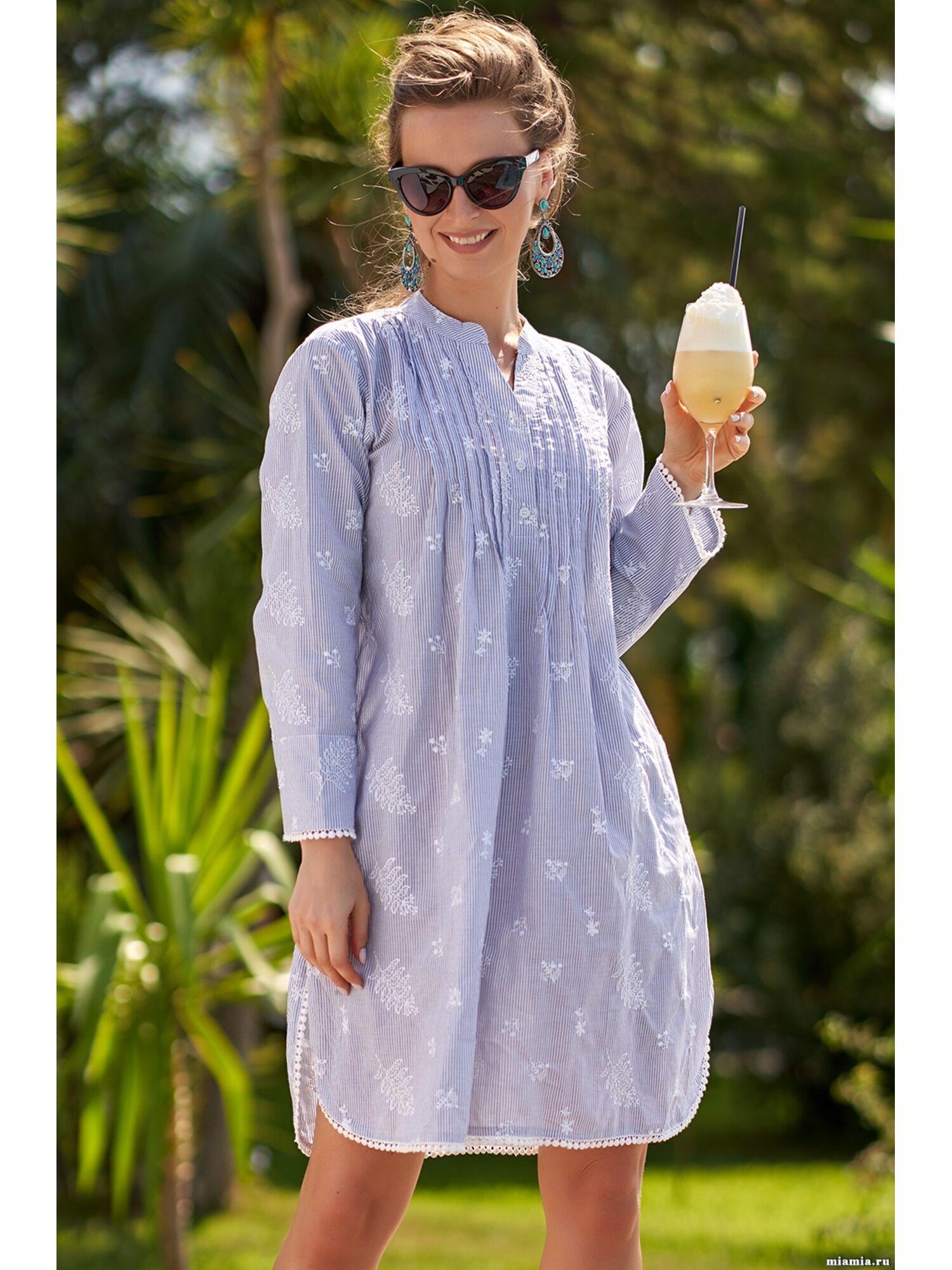Туника пляжная хлопковая Доминикана 1403, голубой, Mia-Amore
