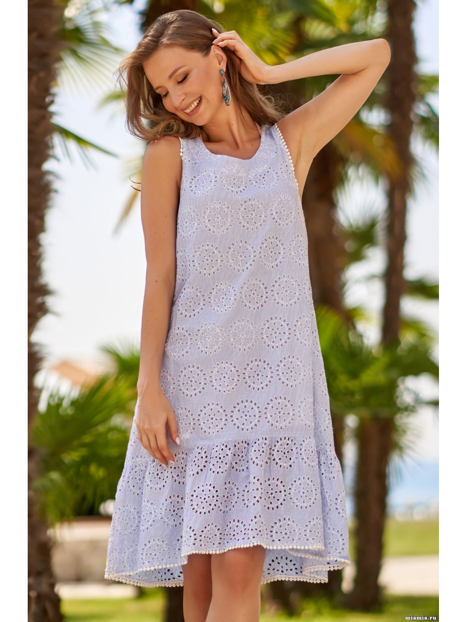 Сарафан, туника пляжная хлопковая Доминикана 1405, голубой, Mia-Amore