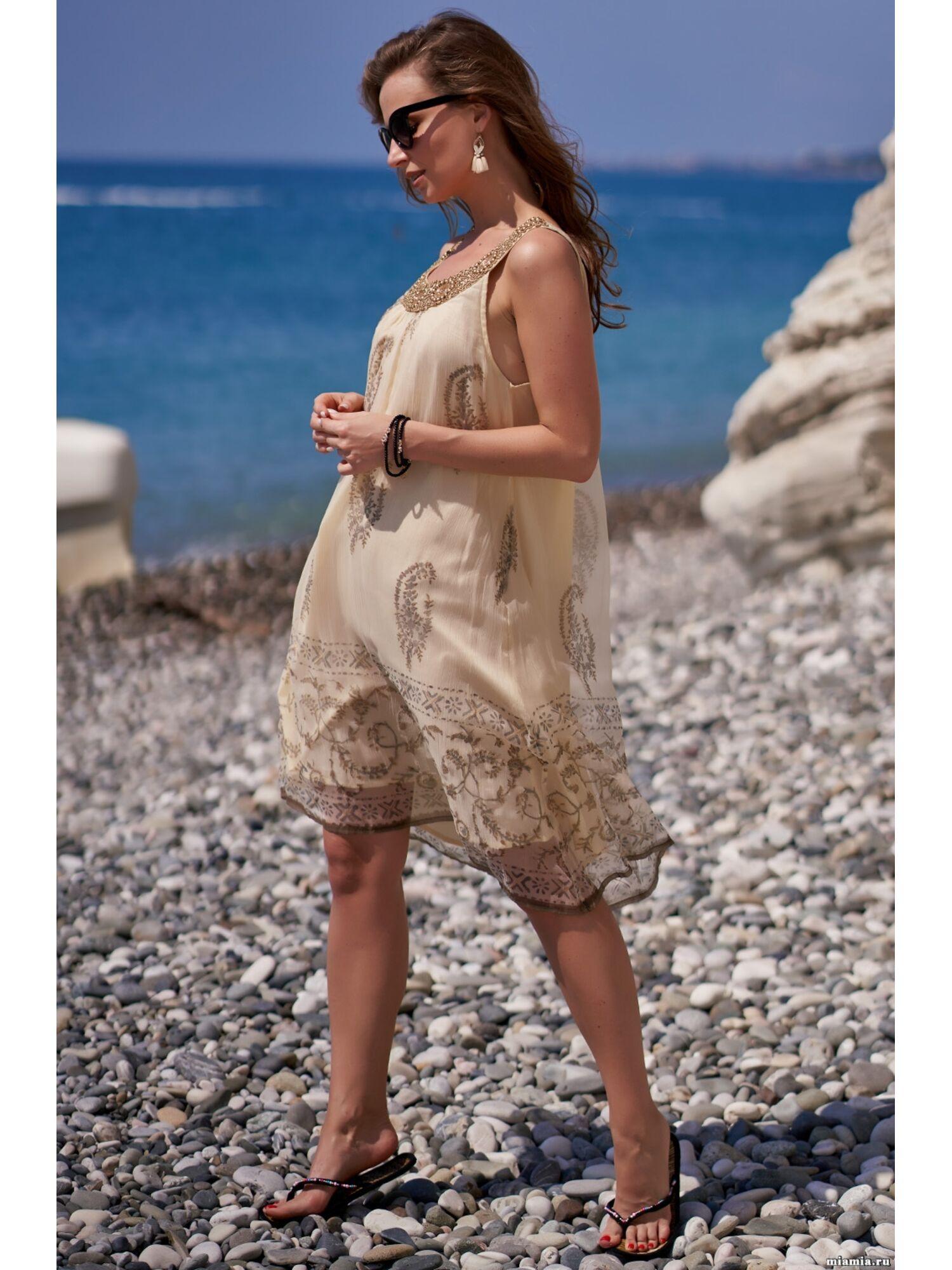 Сарафан, туника пляжная хлопковая Доминикана 1407, бежевый, Mia-Amore