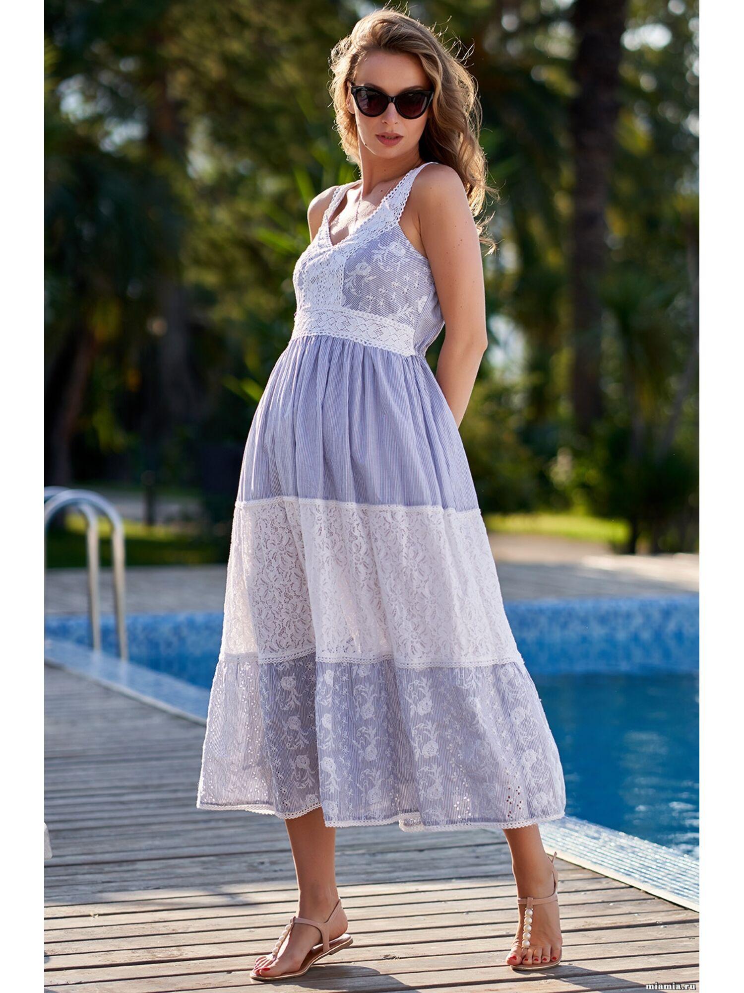 Сарафан, туника пляжная хлопковая Доминикана 1409, голубой, Mia-Amore