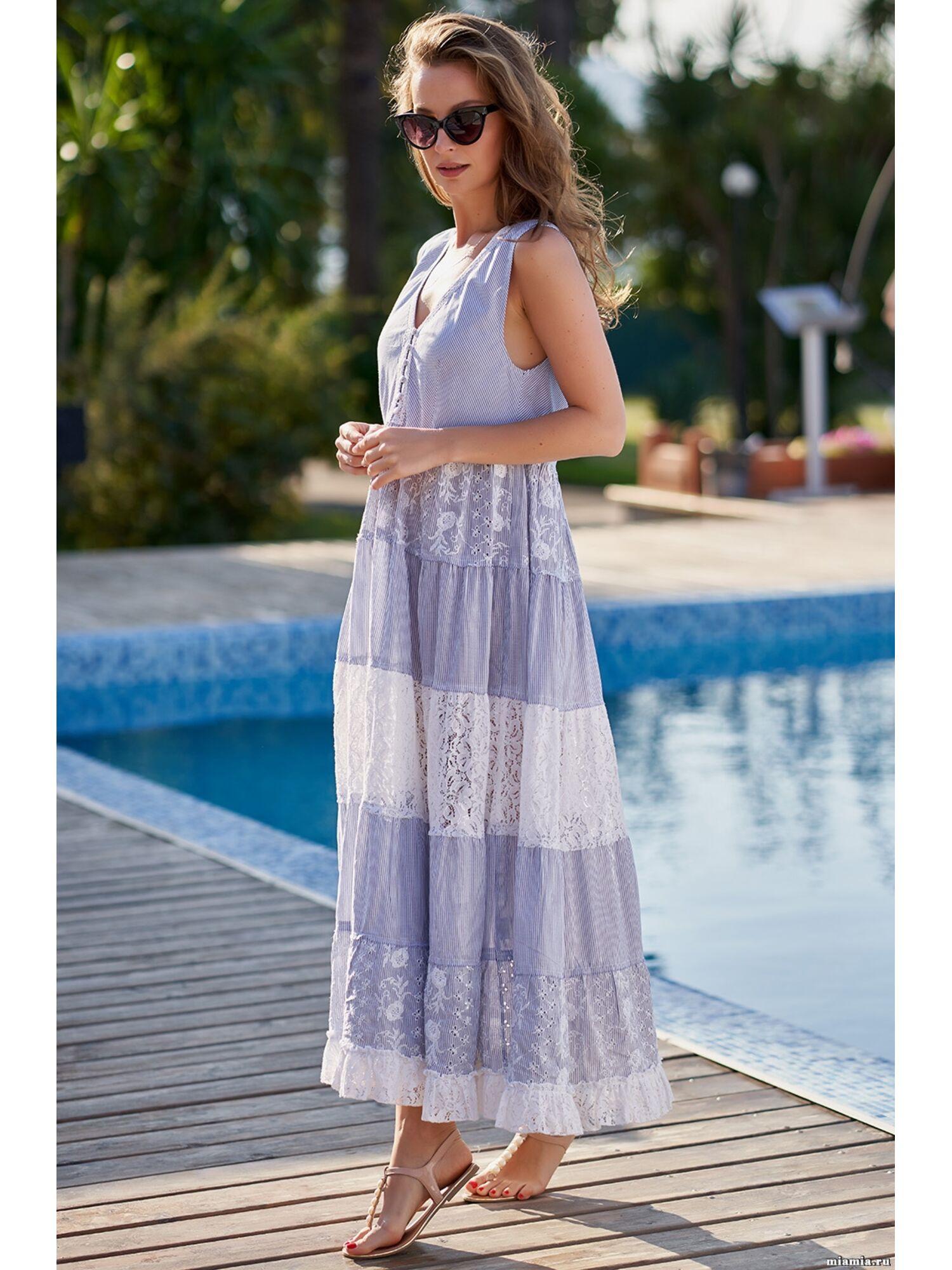 Сарафан, туника пляжная хлопковая Доминикана 1414, голубой, Mia-Amore