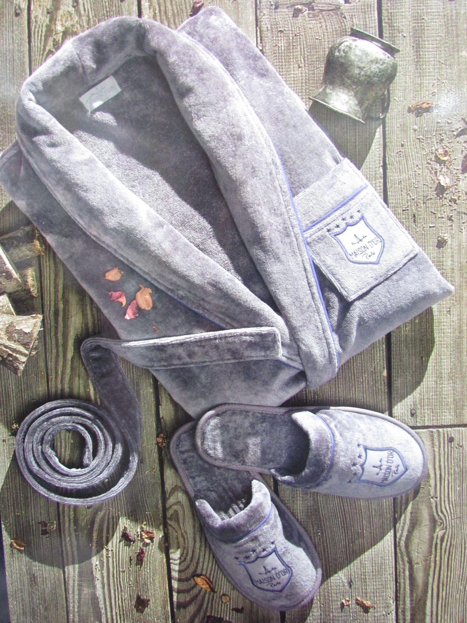 Халат мужской велюровый с тапочками BOSWELL, серый, MAISON D`OR