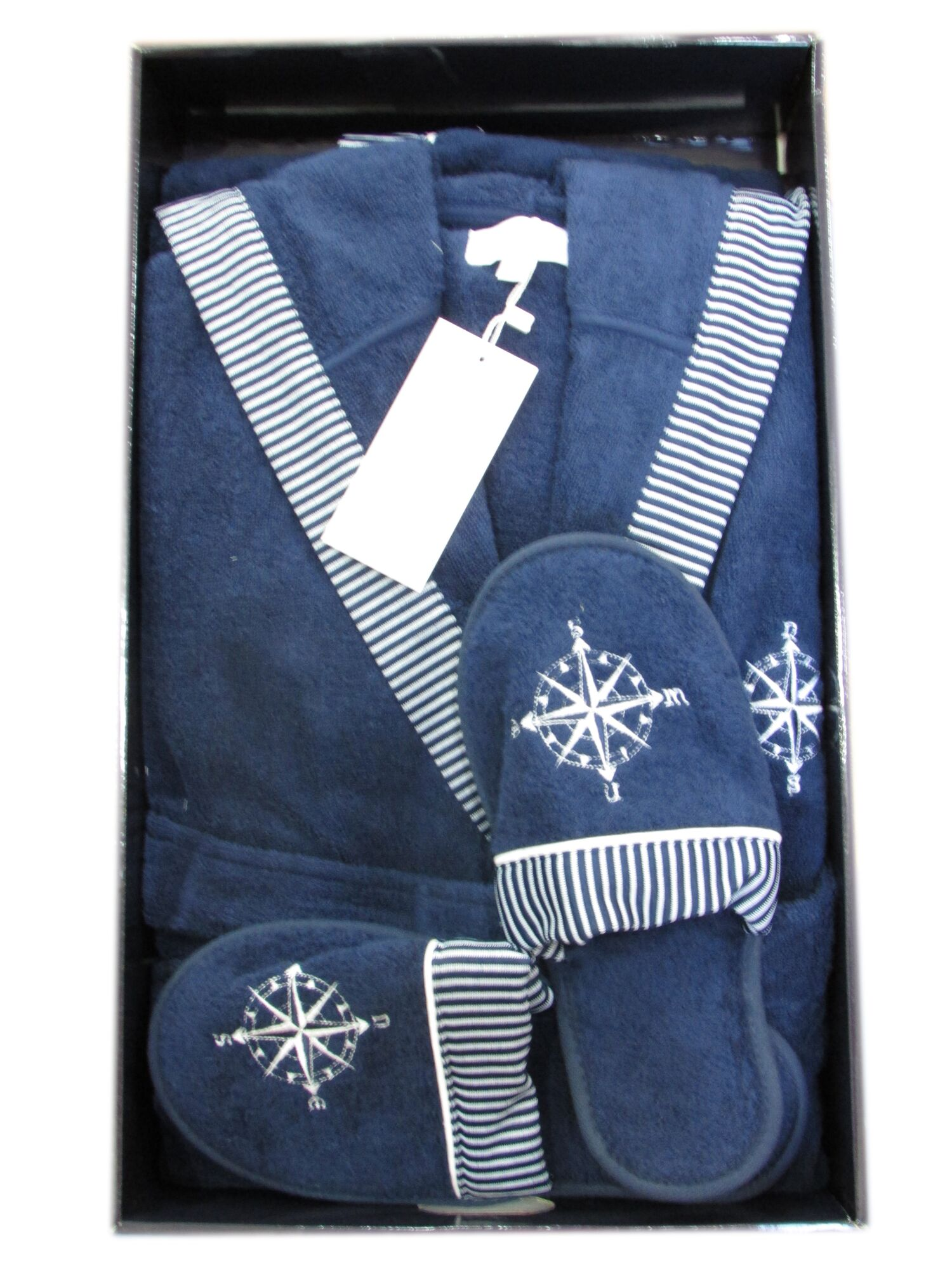 Халат мужской с капюшоном махровый с тапочками MARINE CLUB, синий, MAISON D`OR