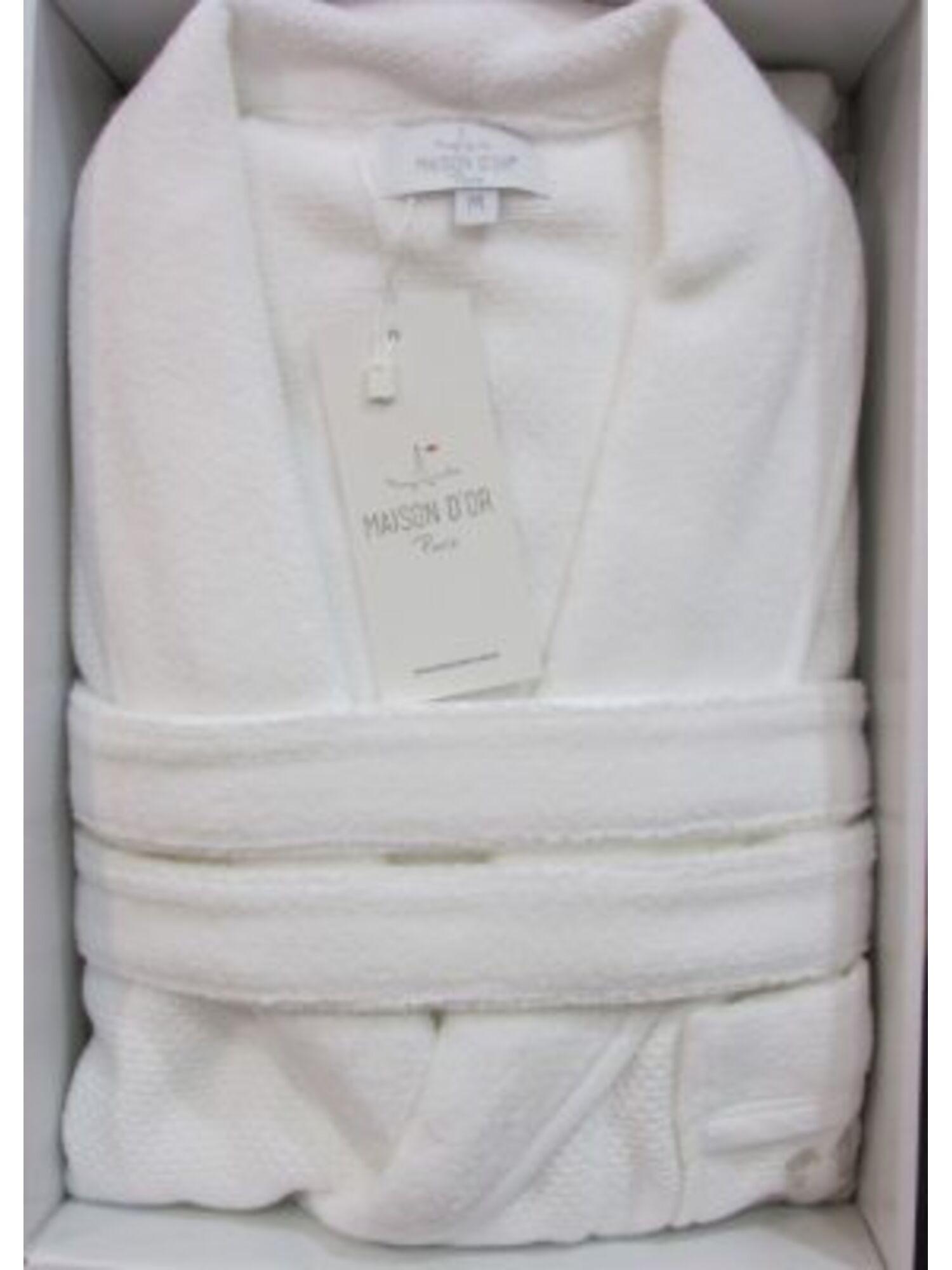 Халат мужской махровый длинный с вышивкой QUATTRO, белый, MAISON D`OR