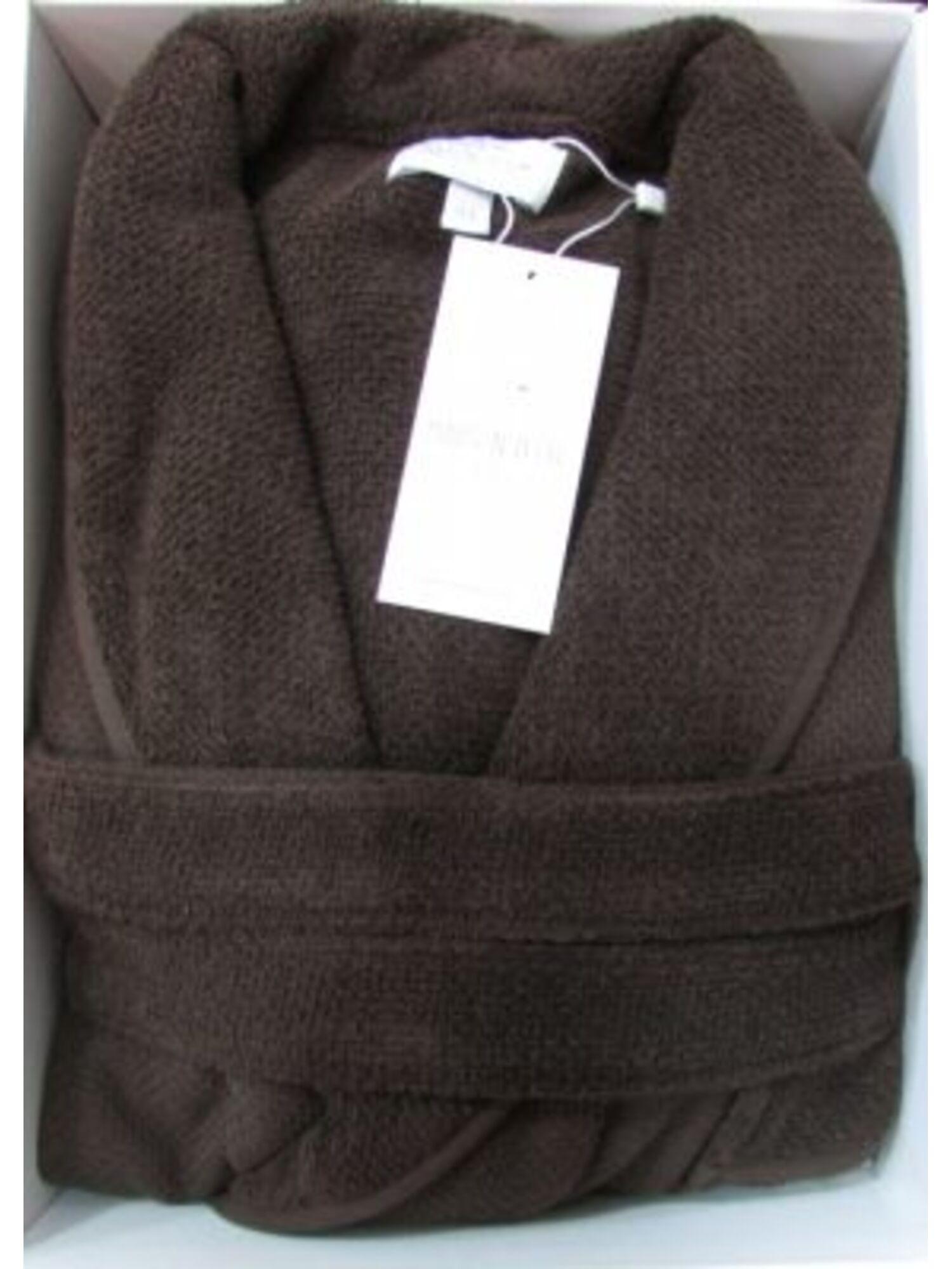 Халат мужской махровый длинный с вышивкой QUATTRO, коричневый, MAISON D`OR