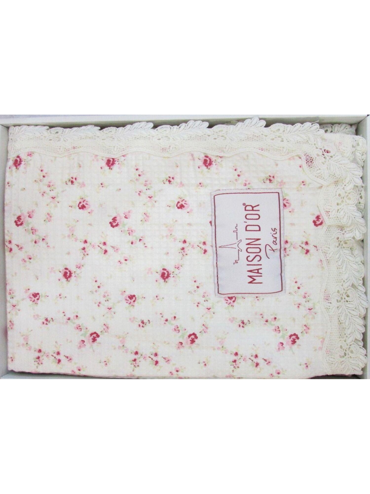 Покрывало вафельное  хлопковое ROSES с кружевом, розовый принт, 220*240, MAISON D`OR