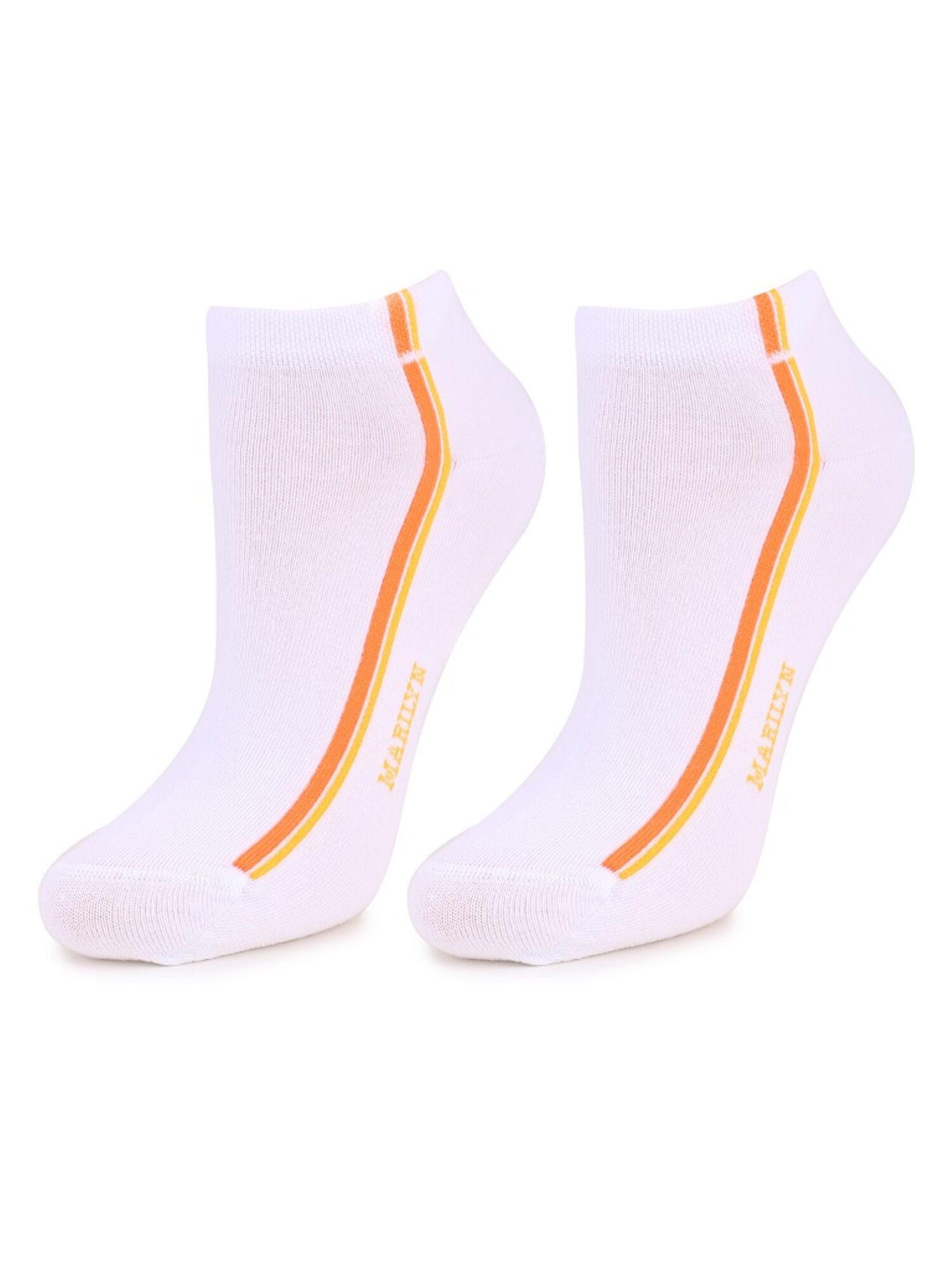 Носки женские укороченные из хлопка Forte 52 белый/оранжевый, MARILYN