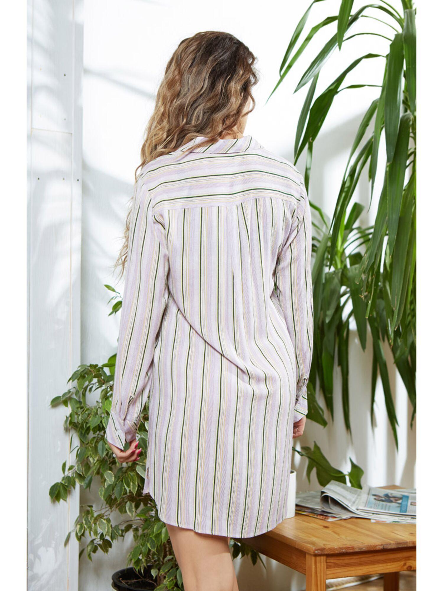Туника-рубашка женская вискозная 16412 Noemi, сиреневый, Mia-Mia