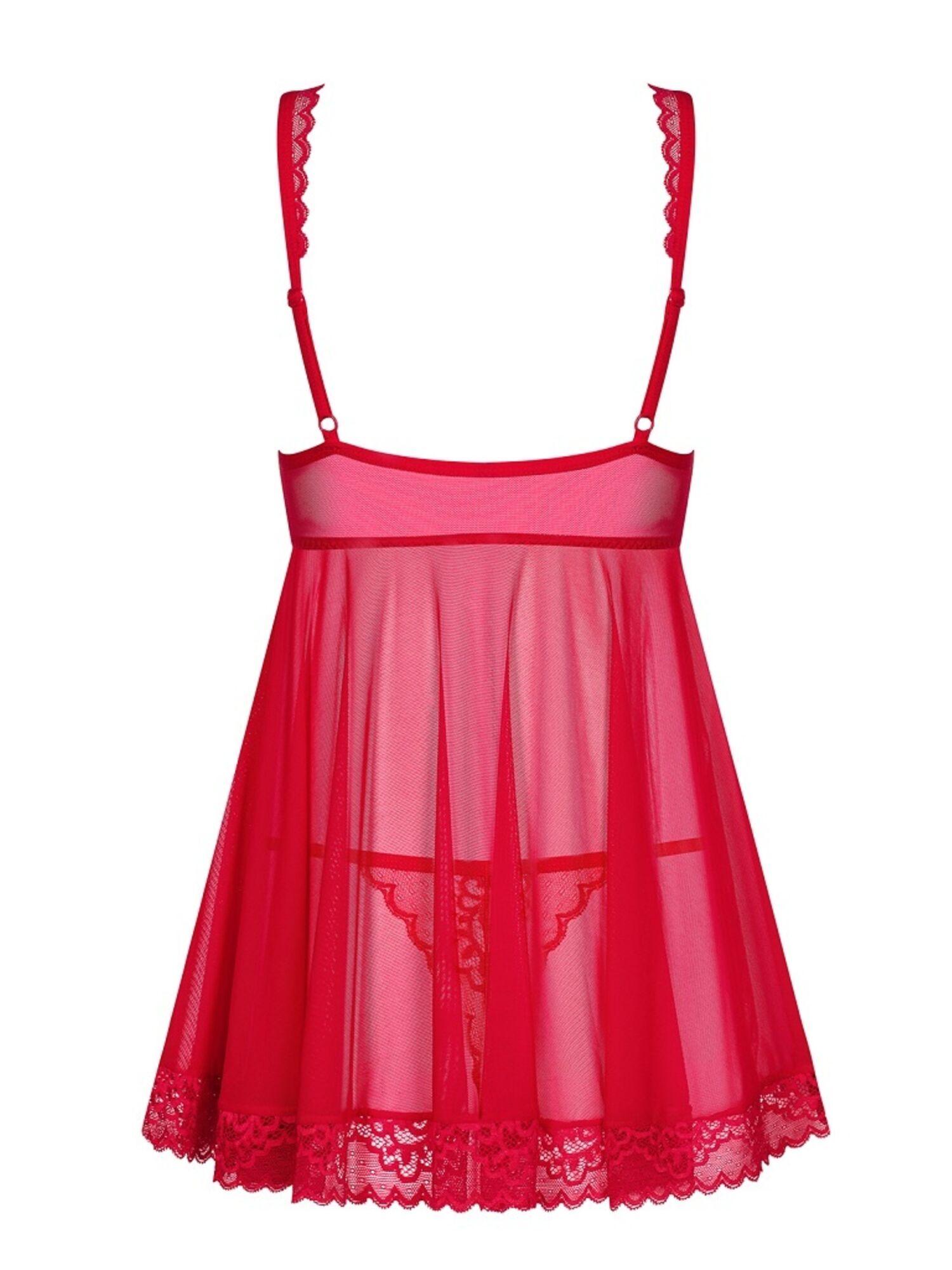 Комплект женский эротический ROUGEBELLE BABYDOLL красный, OBSESSIVE