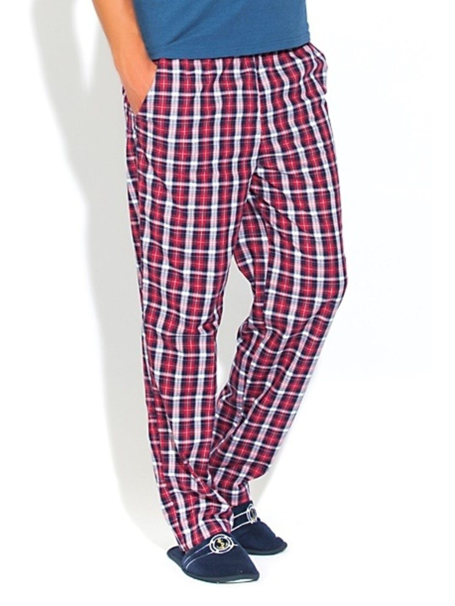 Мужские хлопковые брюки 002 VIKING 2193/3 бордовая с синим клетка, Peche Monnaie (Россия)