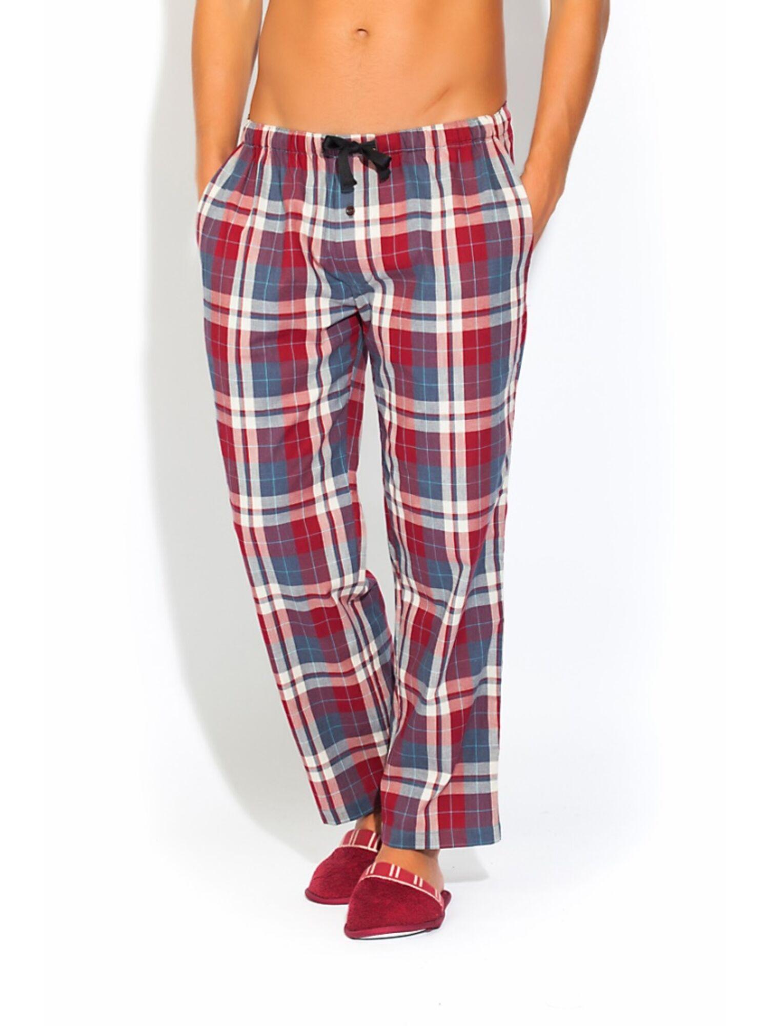 Мужские хлопковые брюки 002 VIKING 527 бордовая клетка, Peche Monnaie (Россия)