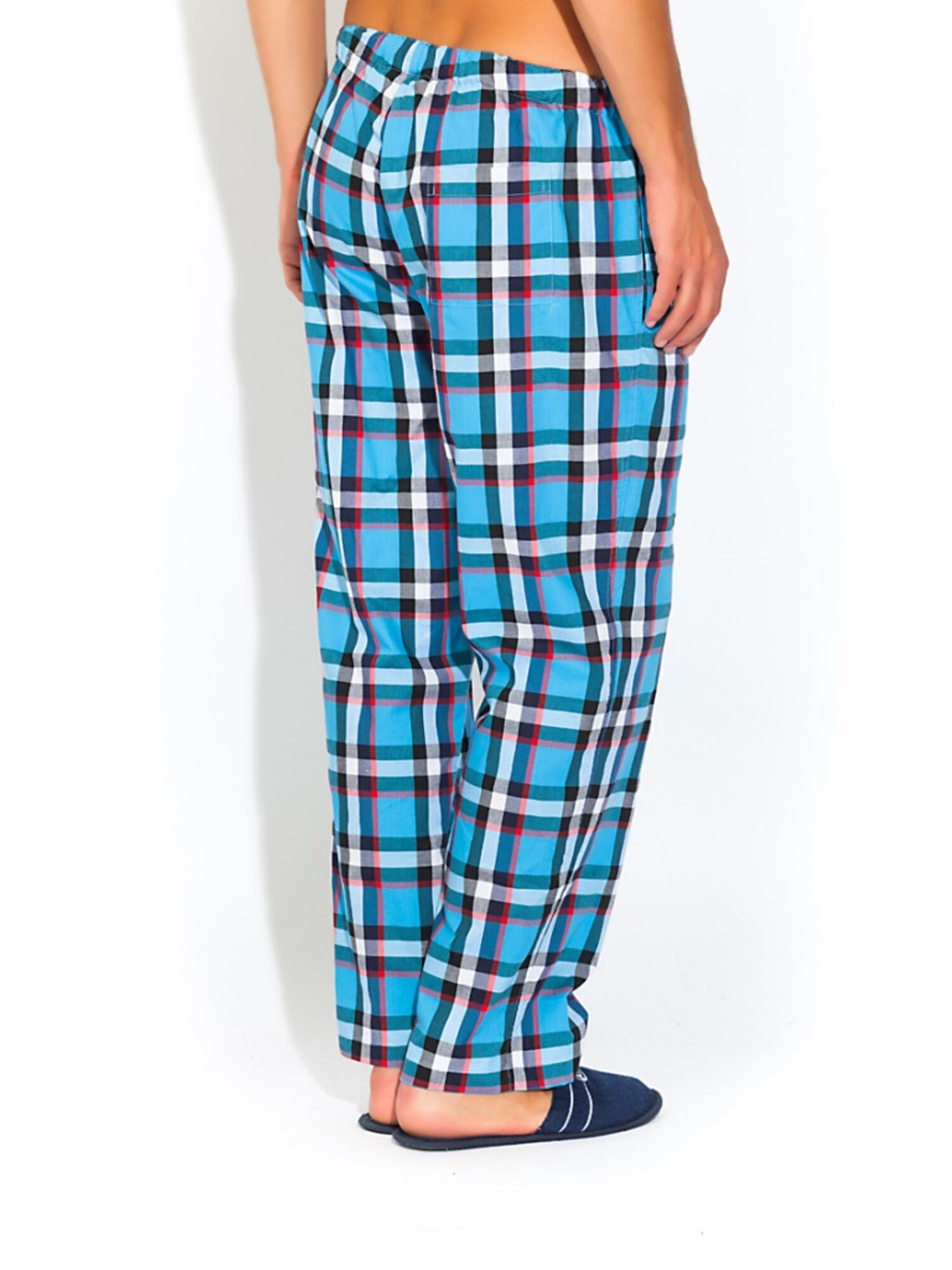 Мужские хлопковые брюки 002 VIKING 2135/5 голубая клетка, Peche Monnaie (Россия)