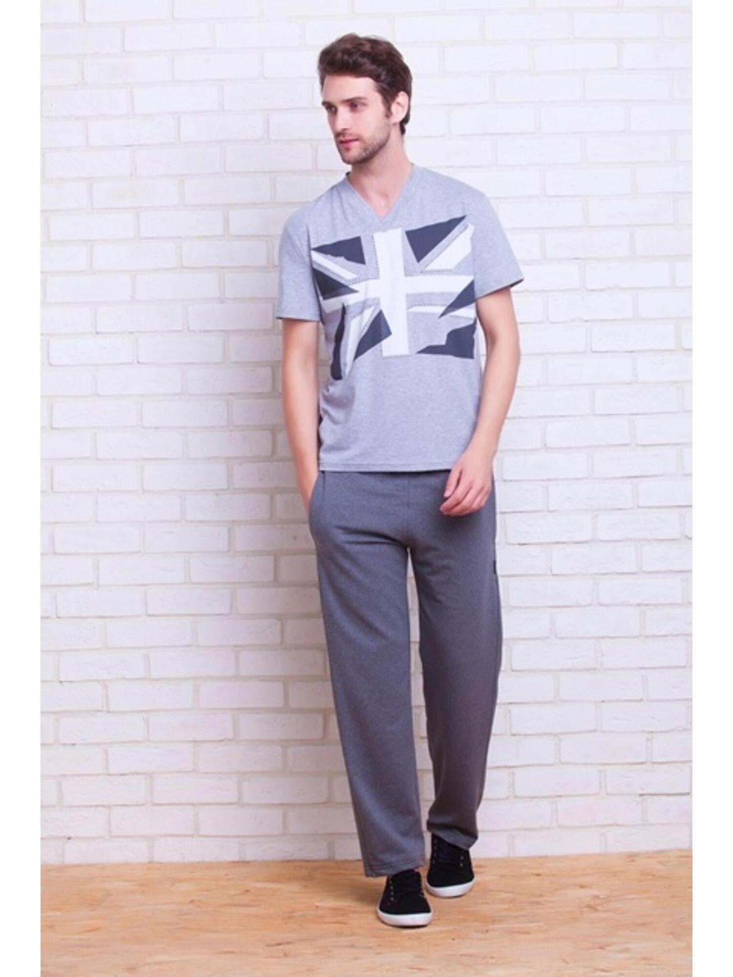 Мужские трикотажные брюки 003 серый, Peche Monnaie (Россия)