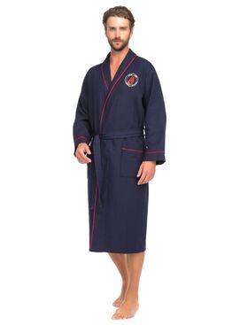 Бамбуковый вафельный халат Suprême (PM France 415) синий
