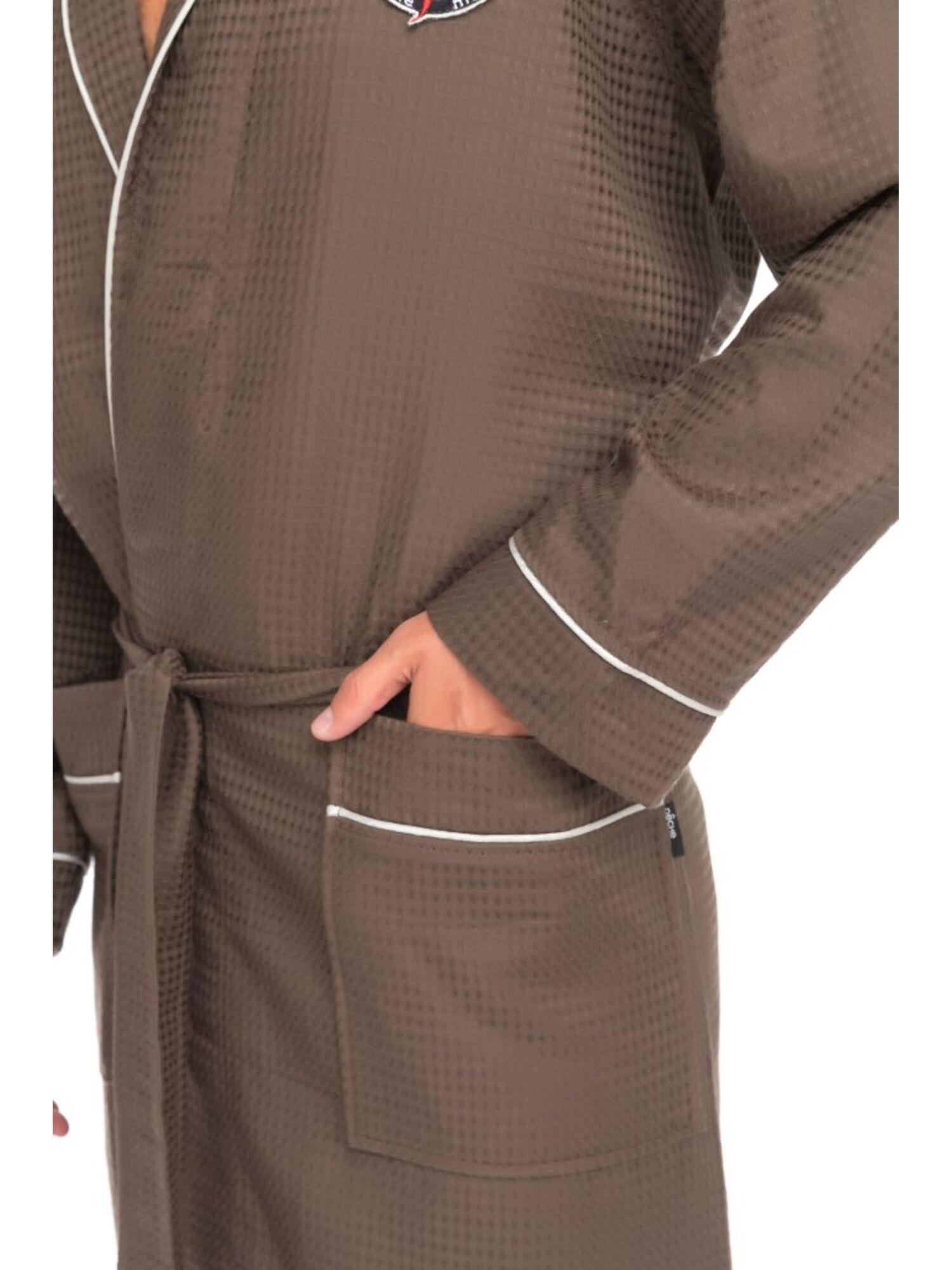 Бамбуковый вафельный халат Suprême (PM France 415) табачный