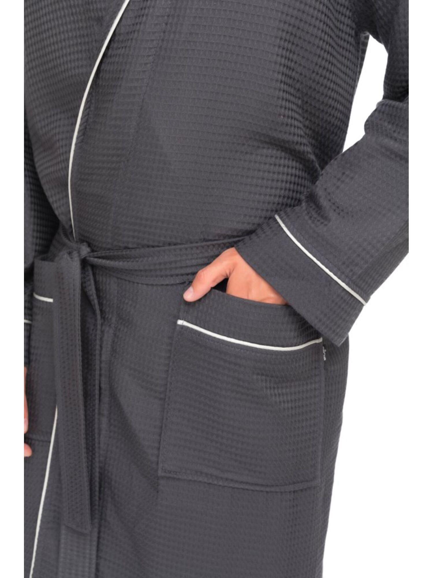 Бамбуковый вафельный халат Suprême (PM France 415) серый