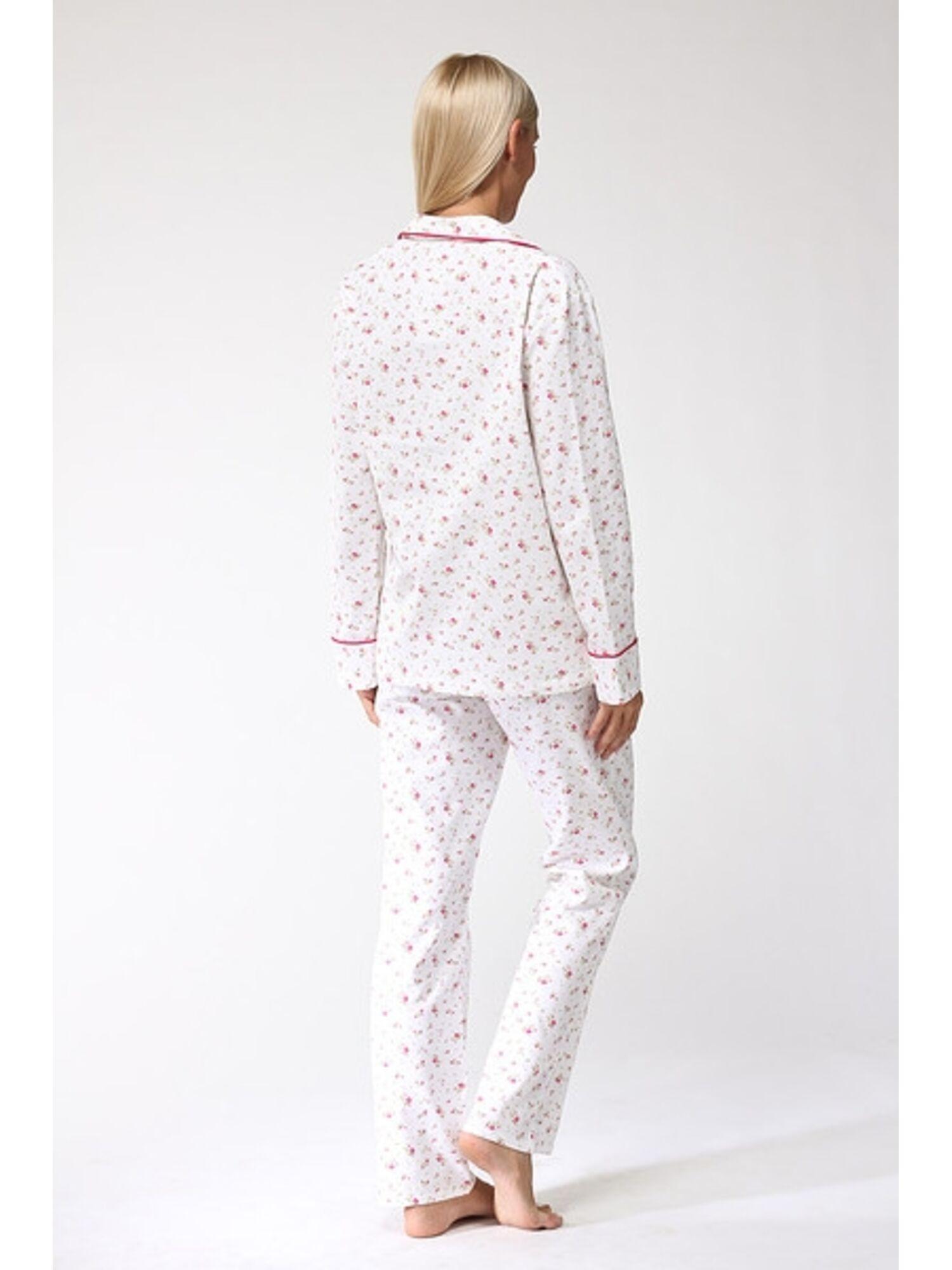 Пижама женская из фланели 1401 Délicate белый/розовый, PECHE MONNAIE